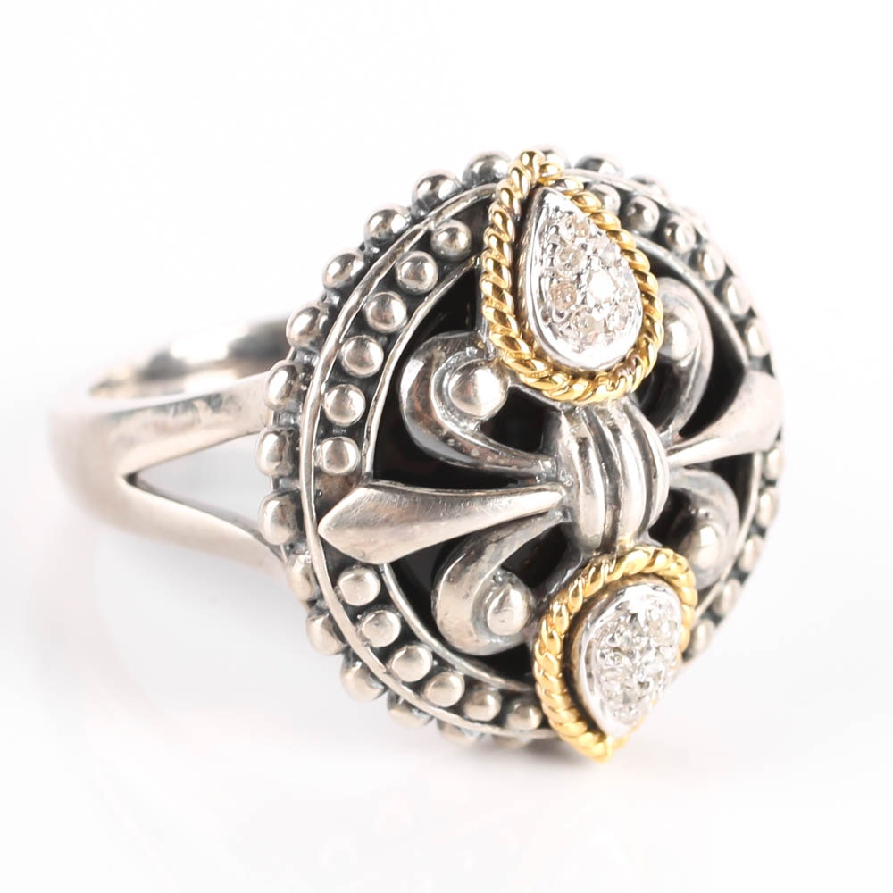 Jeanex Sterling and 18K Gold Diamond Ring