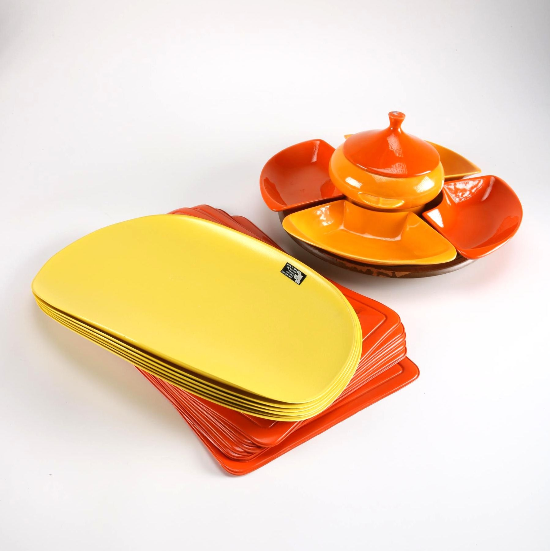 "Orange Ceramic Appetizer Set on ""Lazy Susan"" Stand"