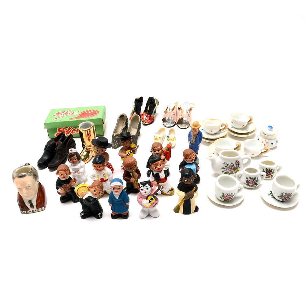 Assorted Figurines, Doll Dishes and Shoes