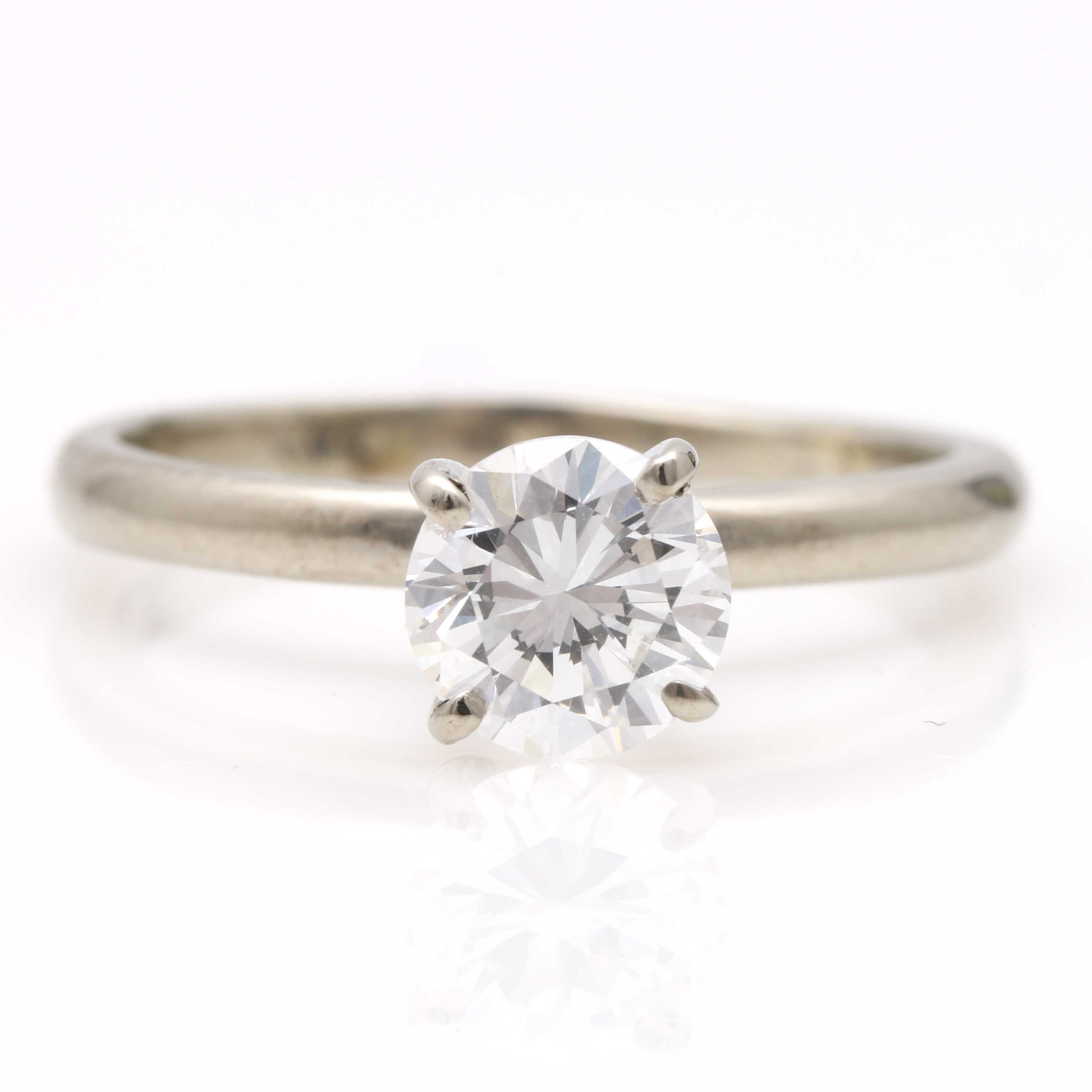14K White Gold GIA Certified Diamond Solitaire Ring