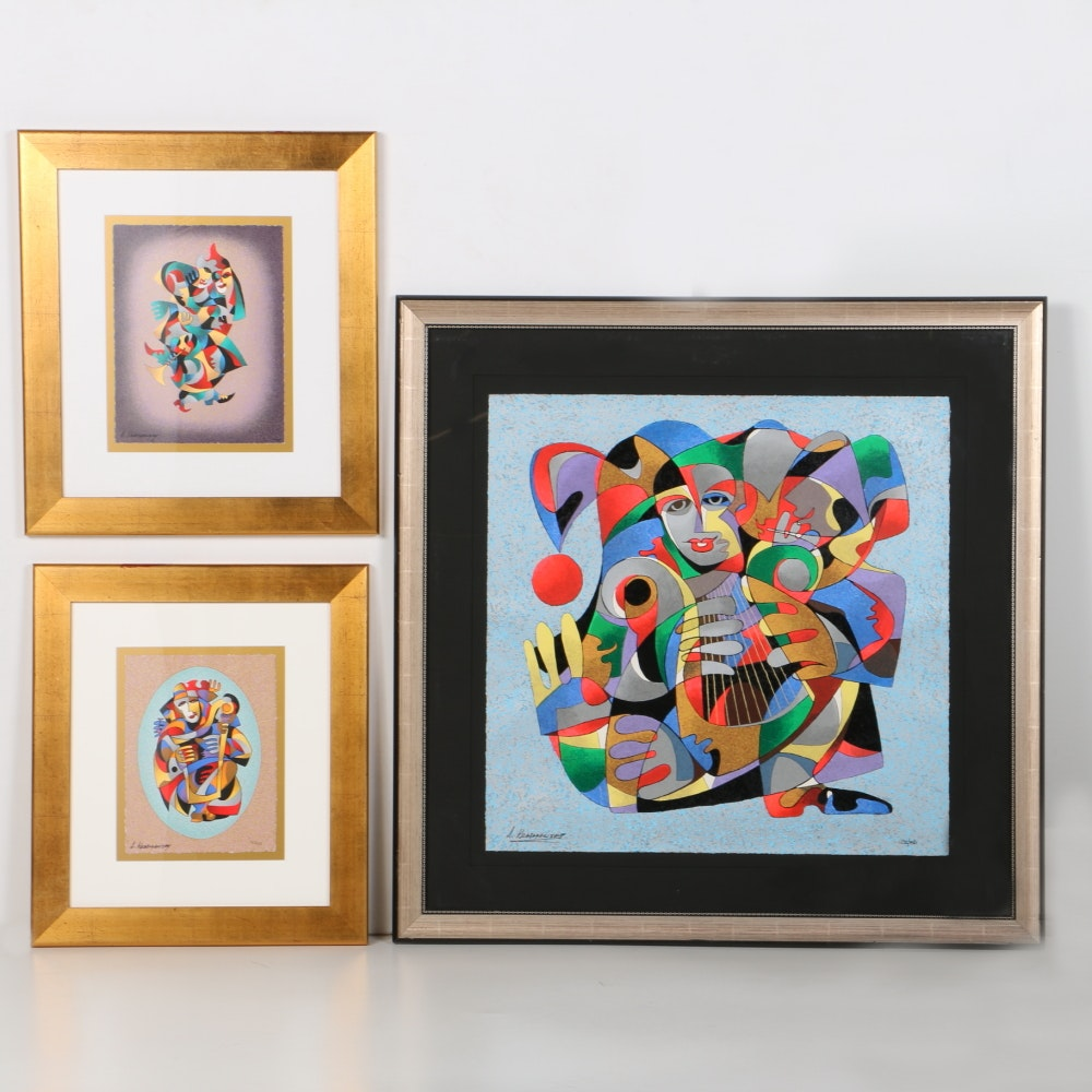 Anatole Krasnyansky Limited Edition Serigraphs of Abstract Jesters