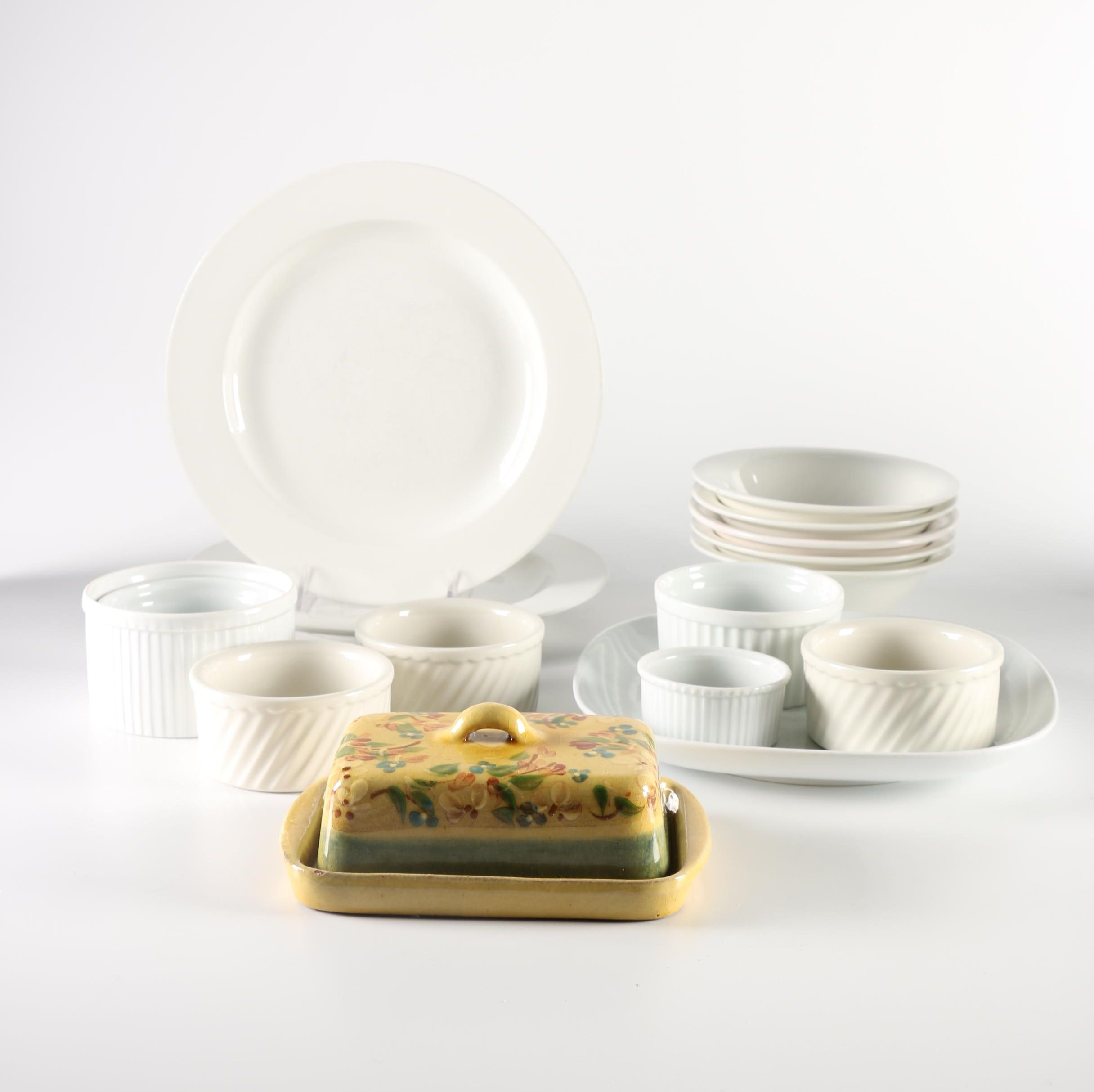 Ceramic Tableware Collection and Floral Butter Dish