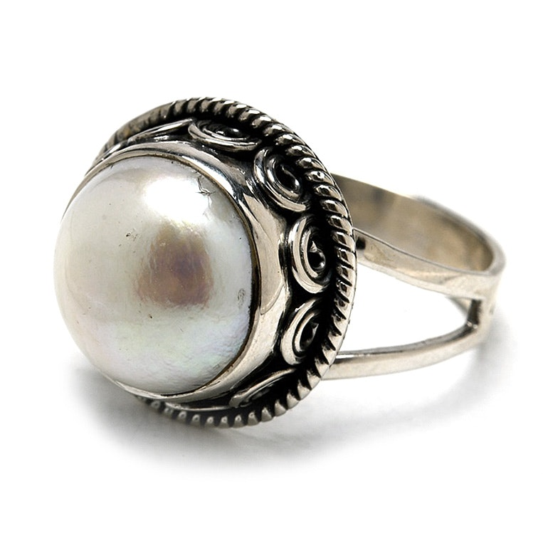 Novica Sterling Cultured Pearl Cocktail Ring