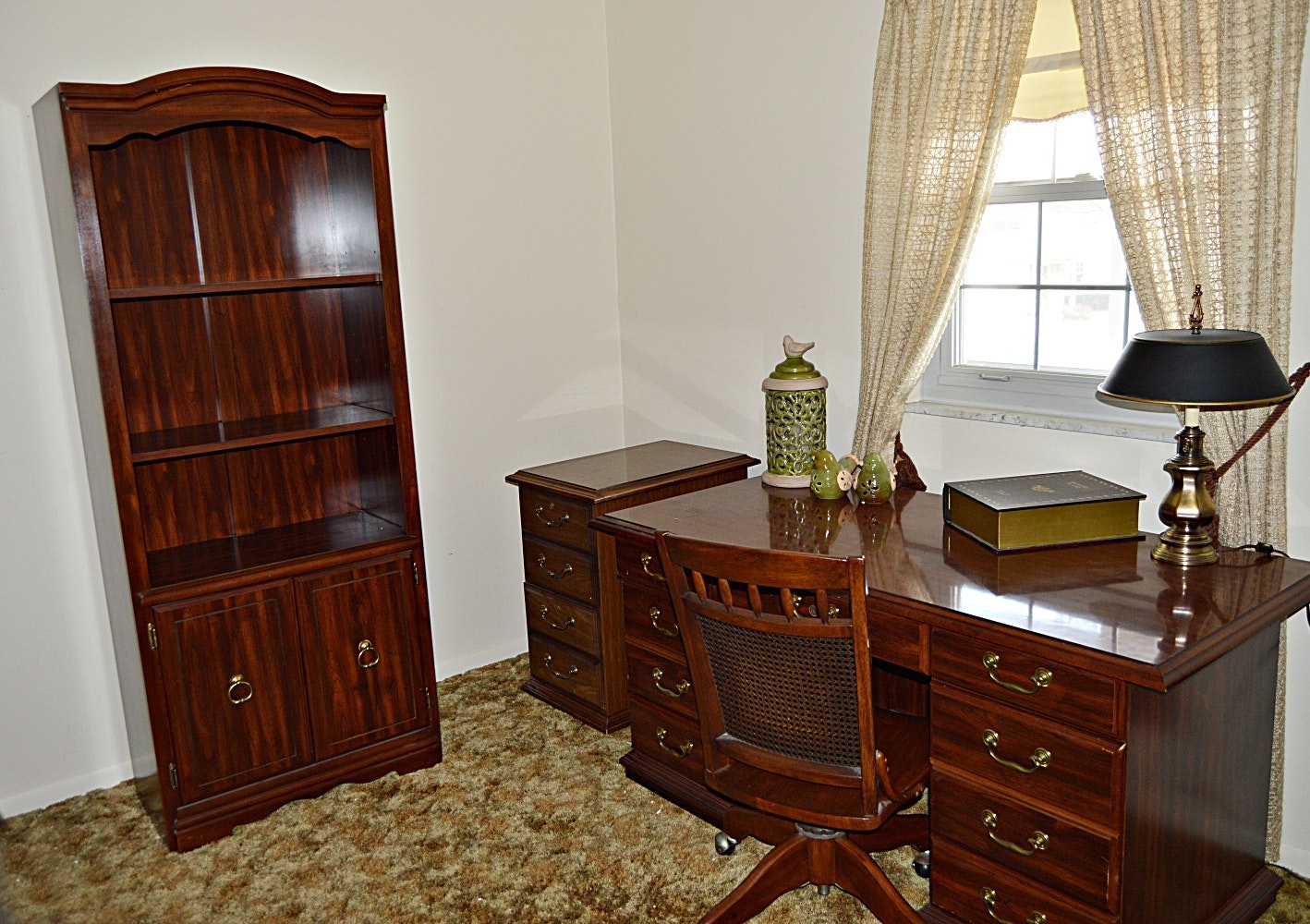 Traditional Cherry Office Ensemble with Desk, Bookcase and Chair