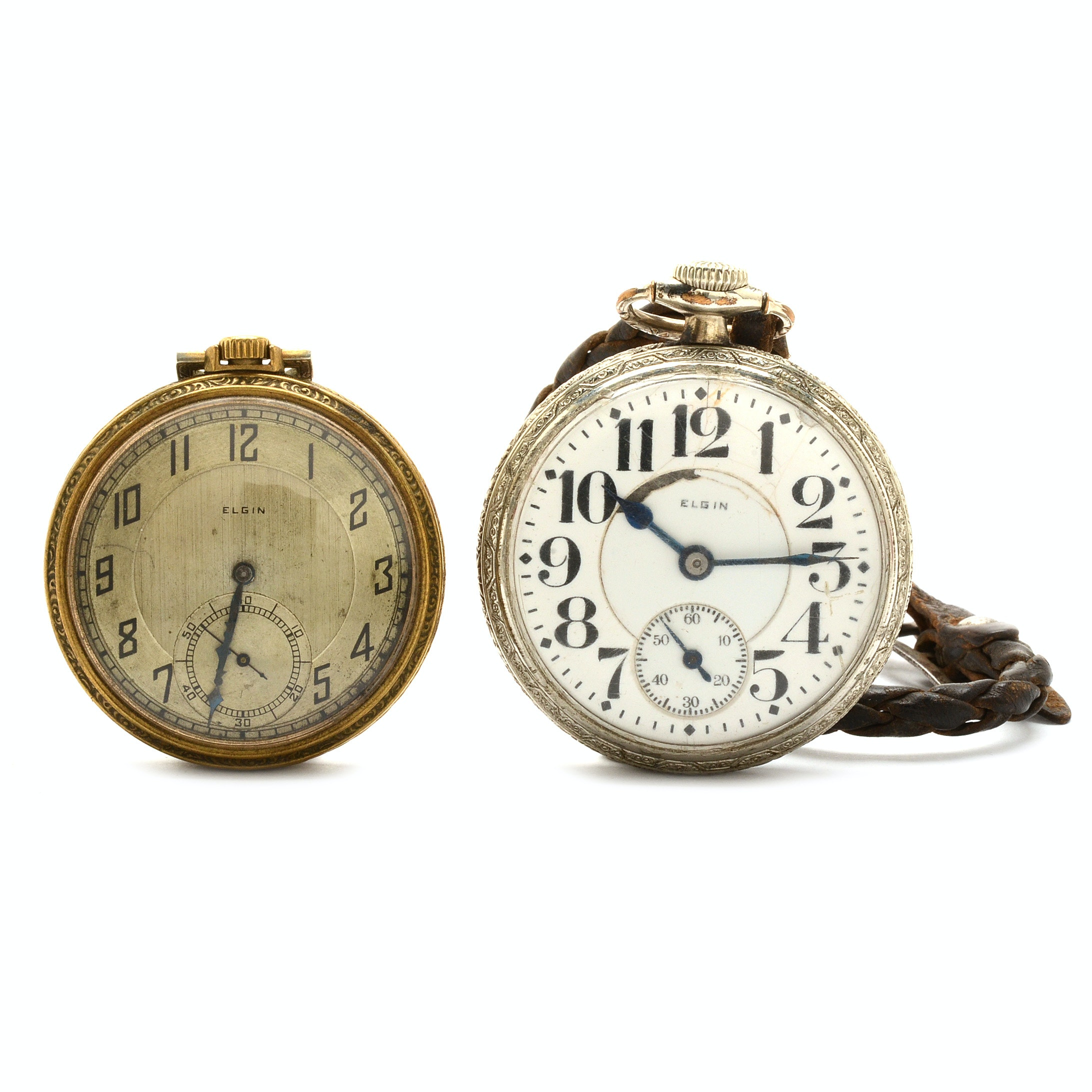 Two Vintage Elgin Base Metal Open Face Pocket Watches
