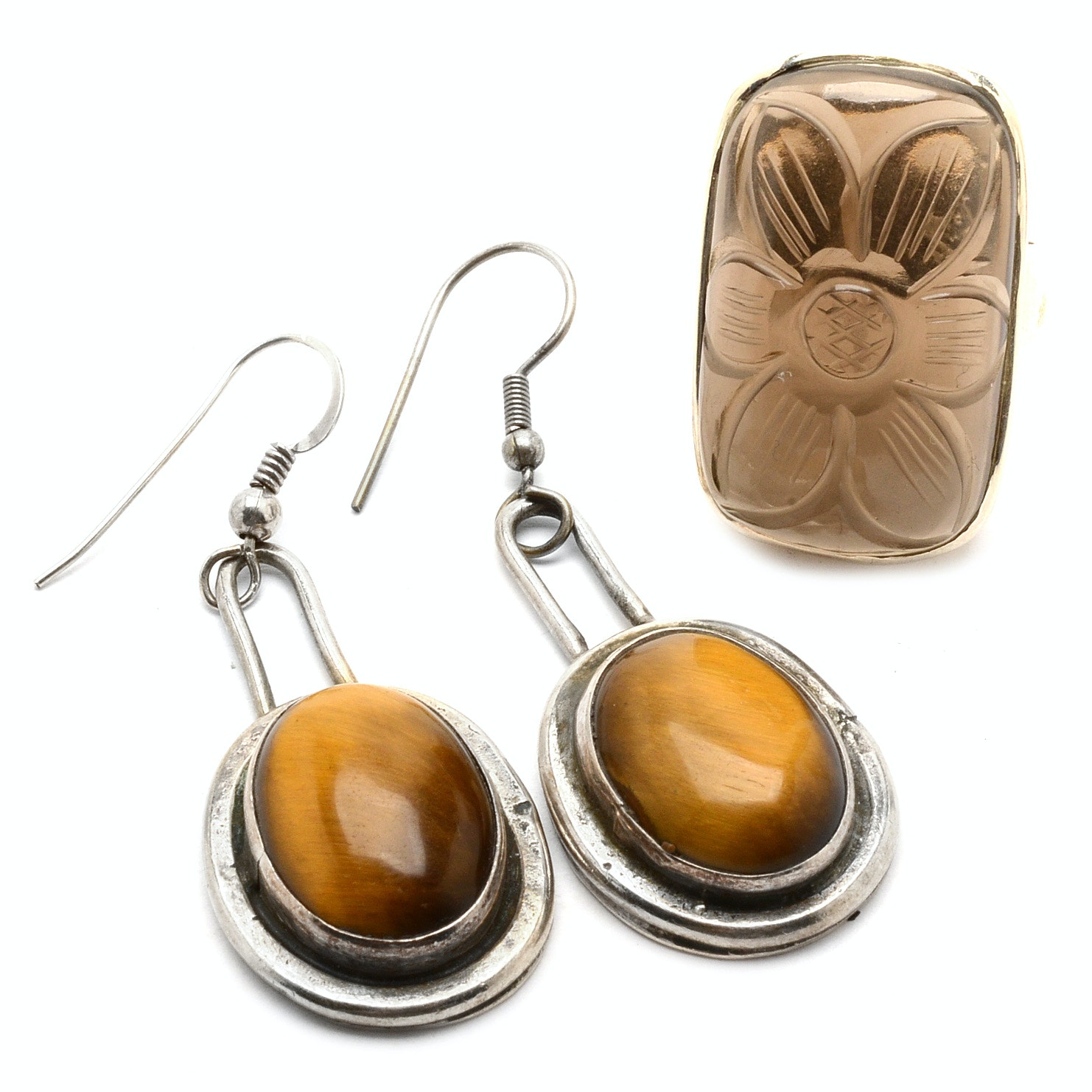 Sterling Silver Smoky Quartz Ring and Tiger's Eye Earrings