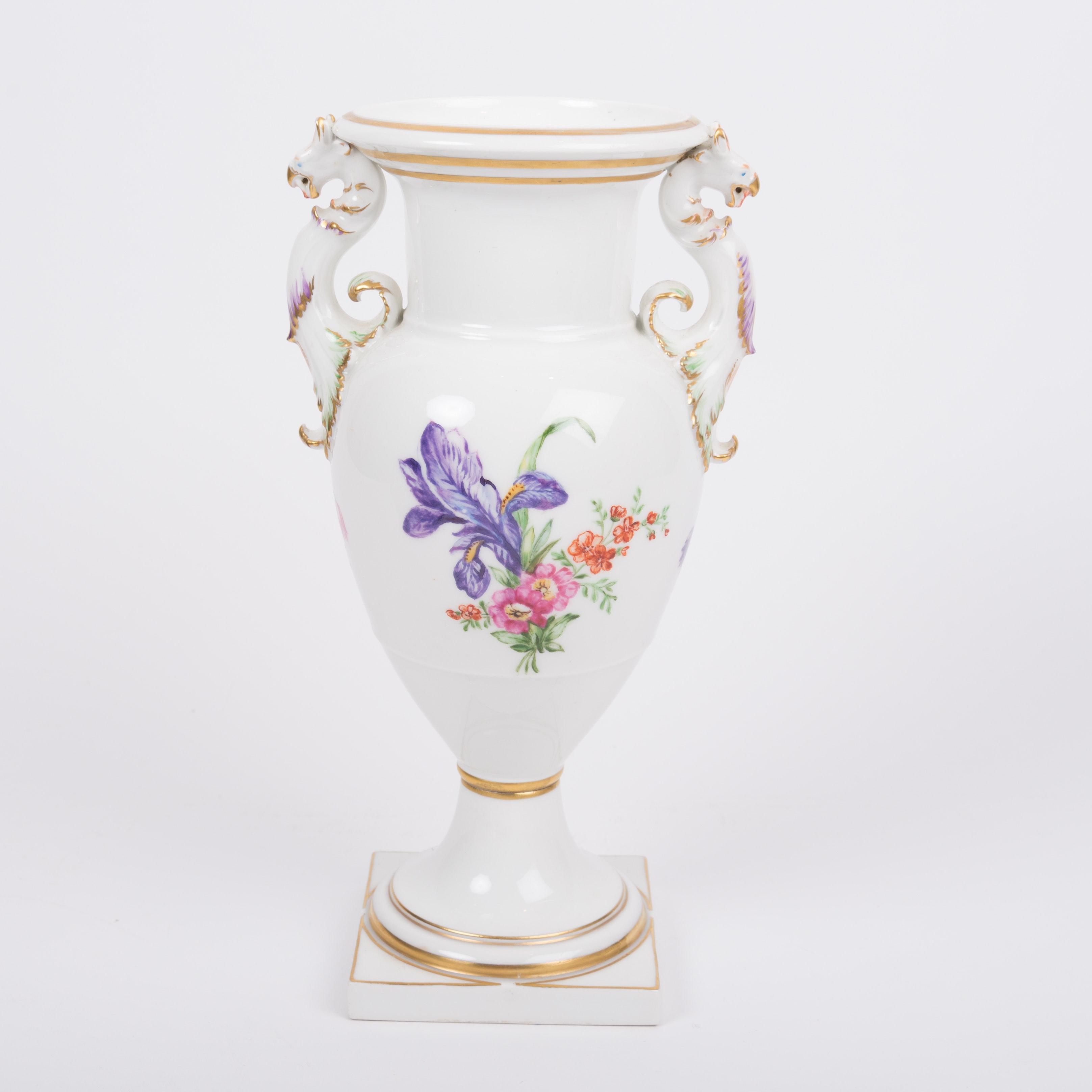 KPM White Porcelain Hand Painted Vase