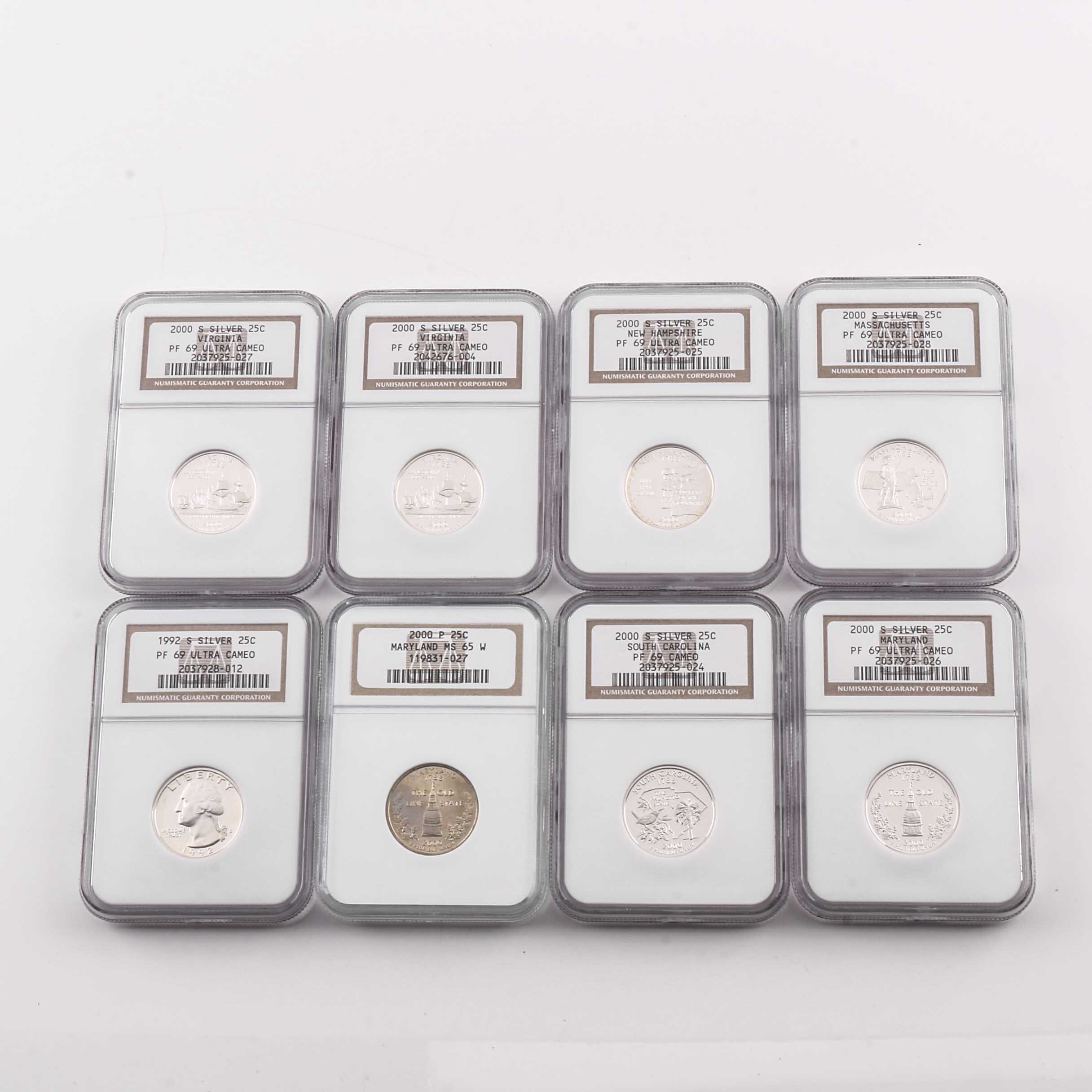 Eight Graded U.S. Quarters