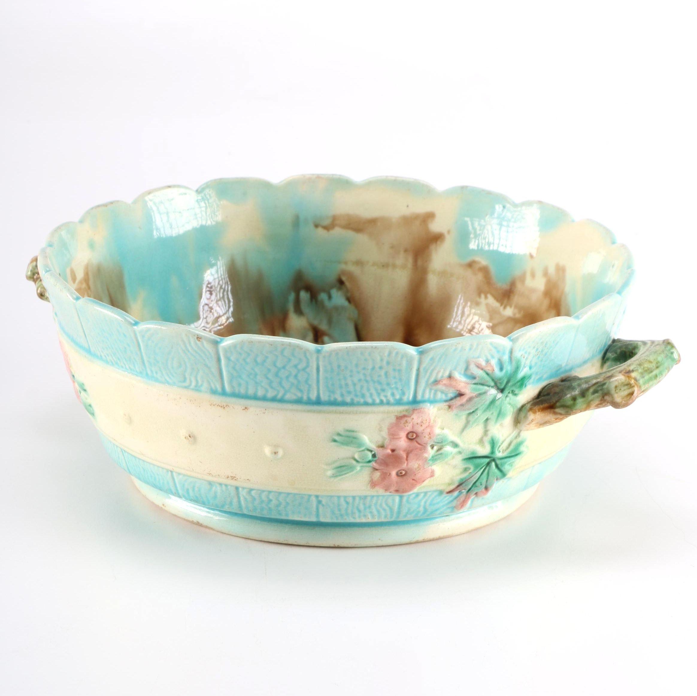 Early 1900 Victorian Majolica Bowl