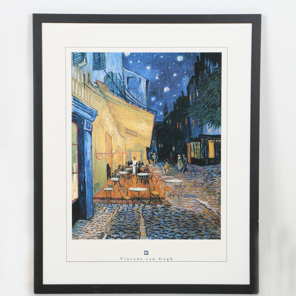"""After Vincent Van Gogh Offset Lithograph """"Cafe Terrace at Night"""""""