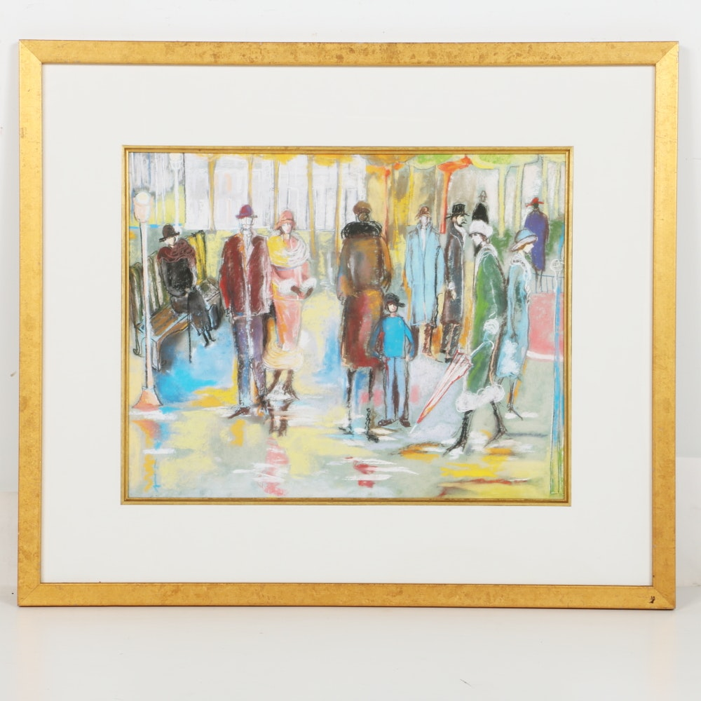 Framed Unsigned Offset Lithograph of Street Scene with Figures