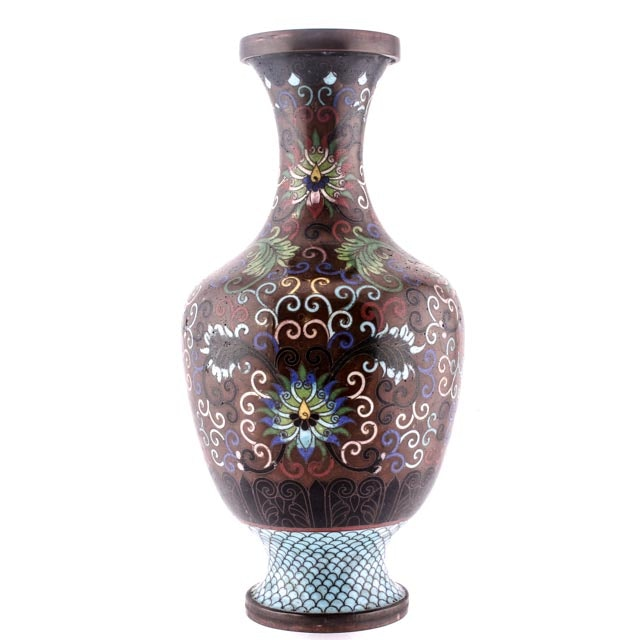 Early 20th Century East Asian Cloisonne Vase Lamp Base