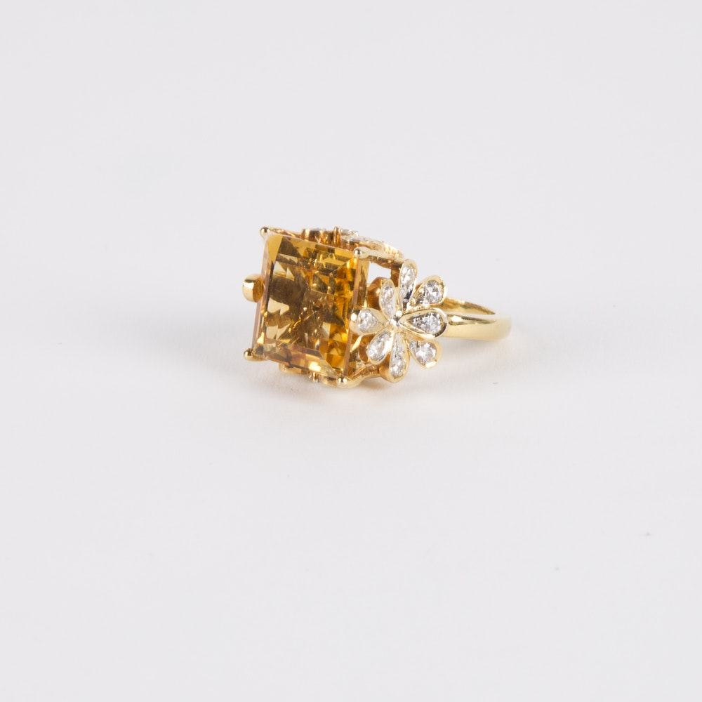 18K Gold Square Citrine and Diamond Cocktail Ring