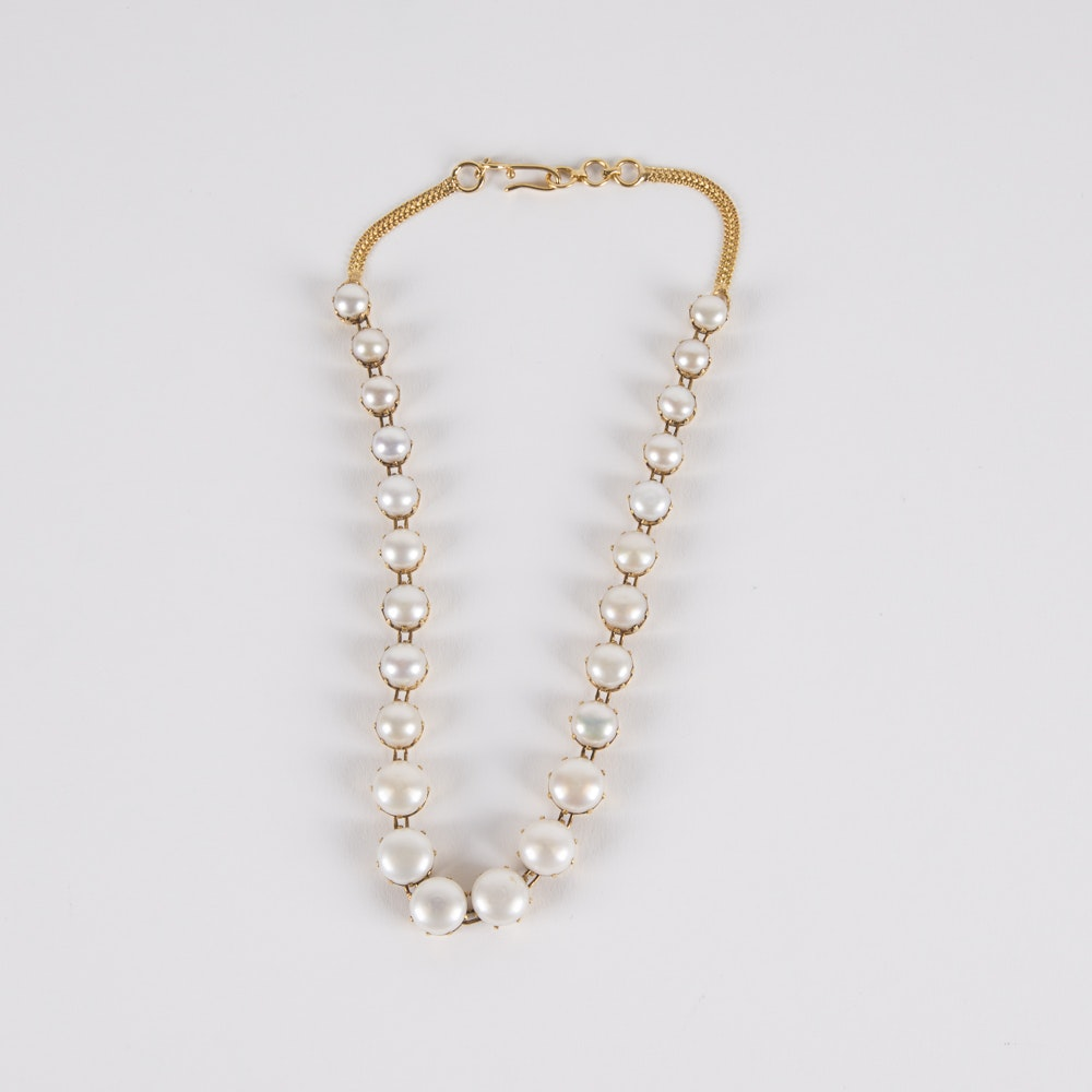 14K Gold and Graduated Button Pearl Necklace