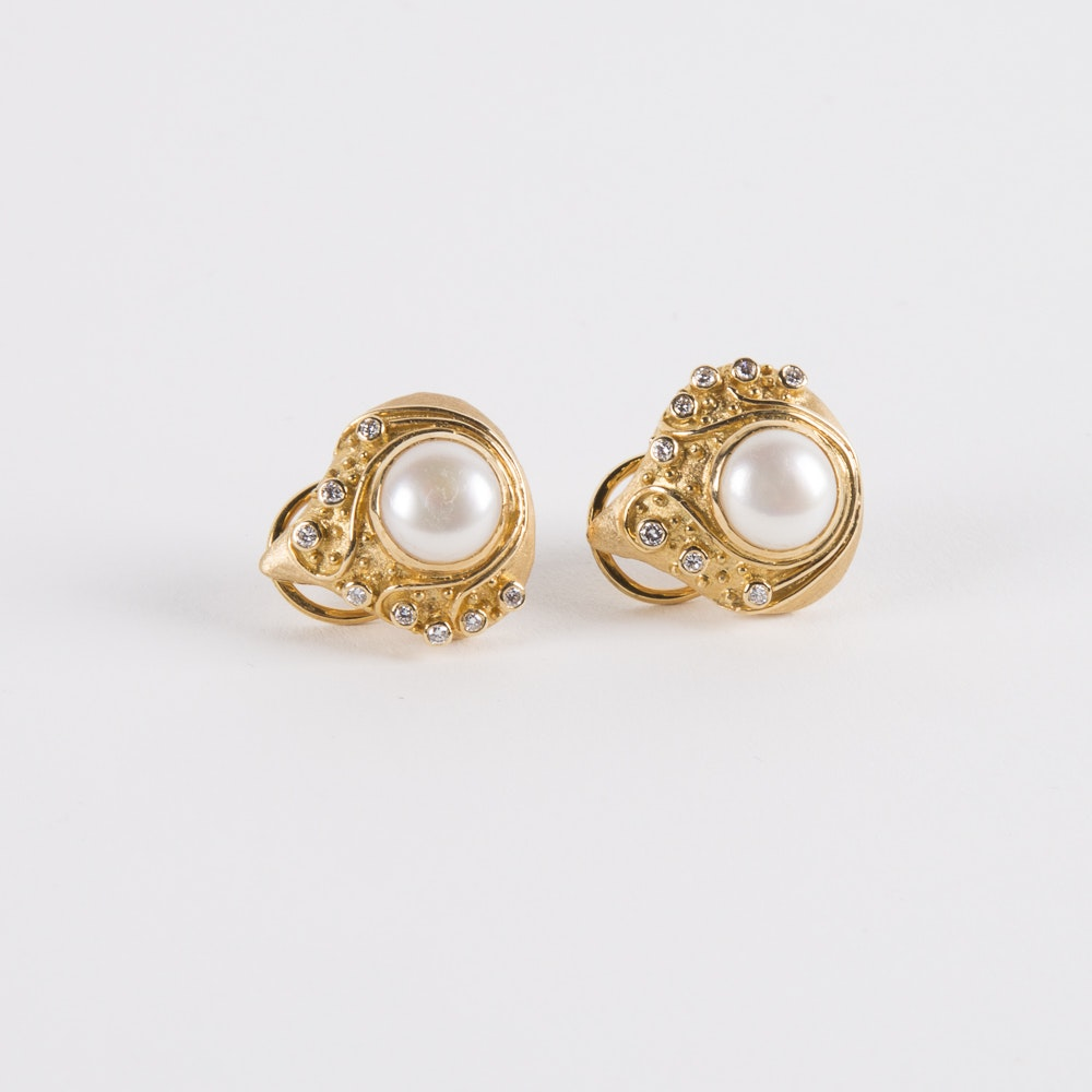 18K Gold Mabe Pearl and Diamond Earrings