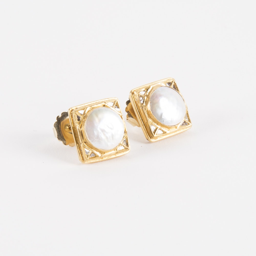 Square 18K Gold Mabe Pearl and Diamond Earrings