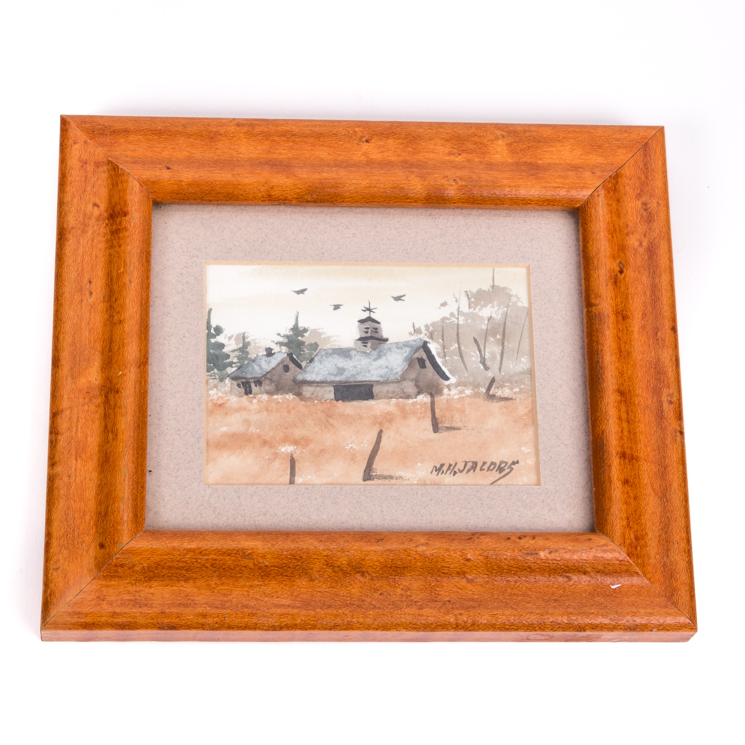 M. H. Jacobs Miniature Watercolor Painting of Barn