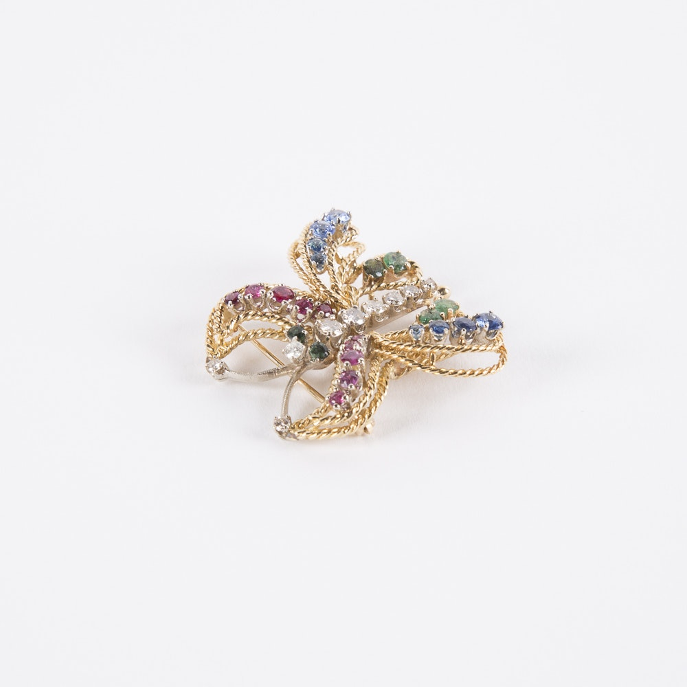 Asta 18K Gold, Diamond, Ruby, Sapphire, and Emerald Butterfly Pin