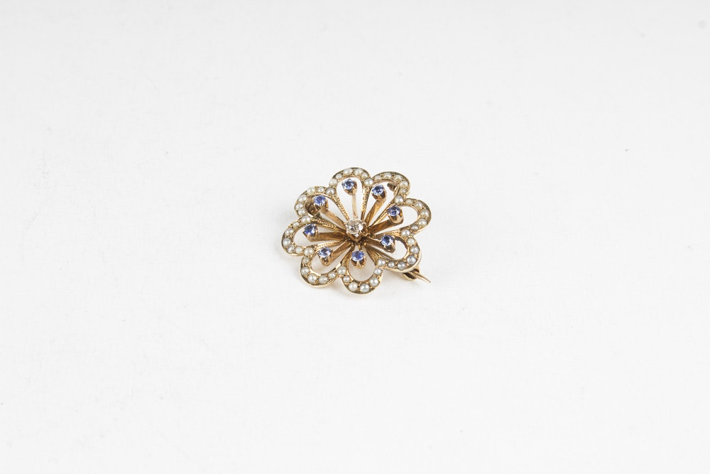 14K Gold Diamond, Pearl and Sapphire Floral Pin