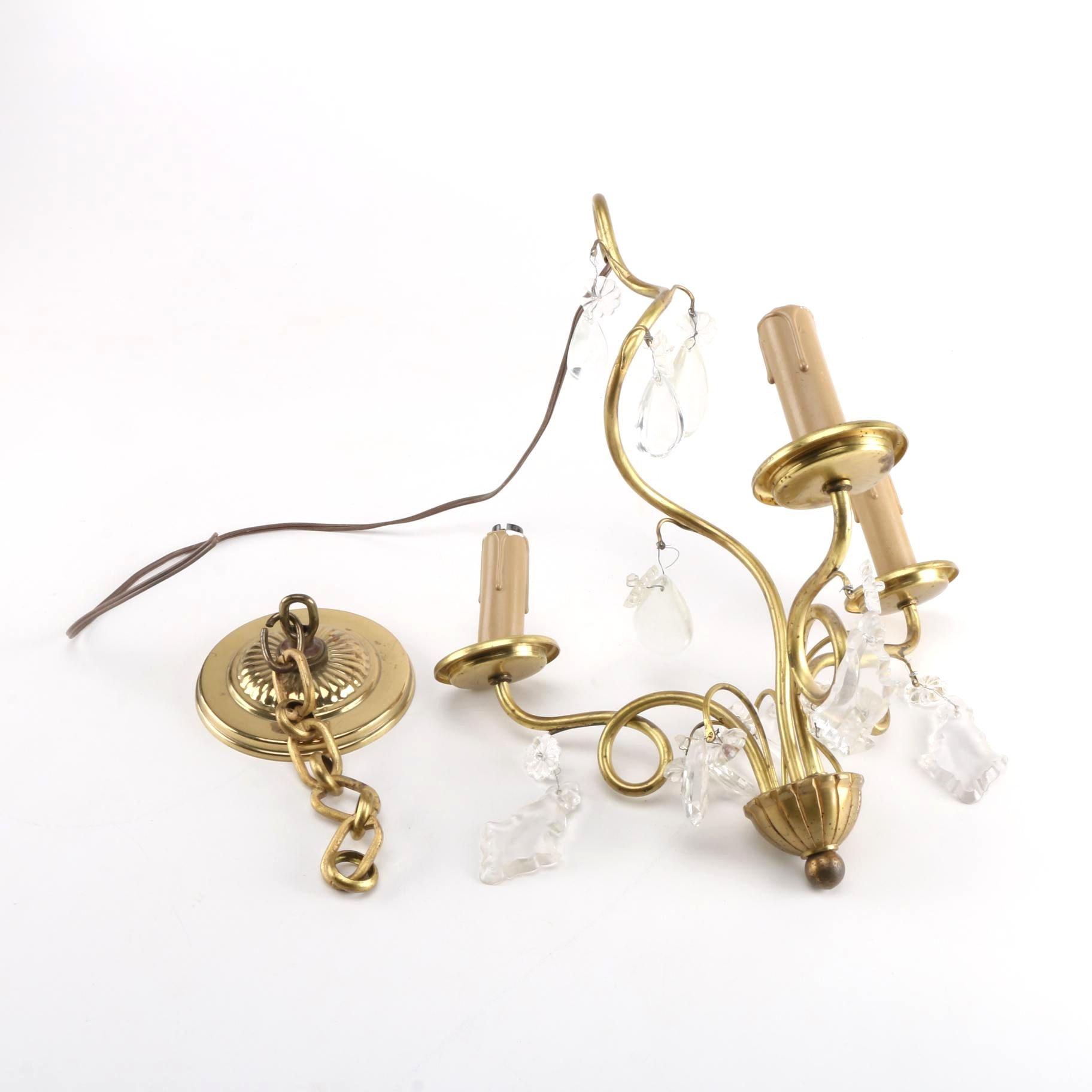 Small Brass Antique Chandelier