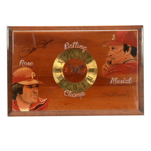 Musial and Rose Signed Clock