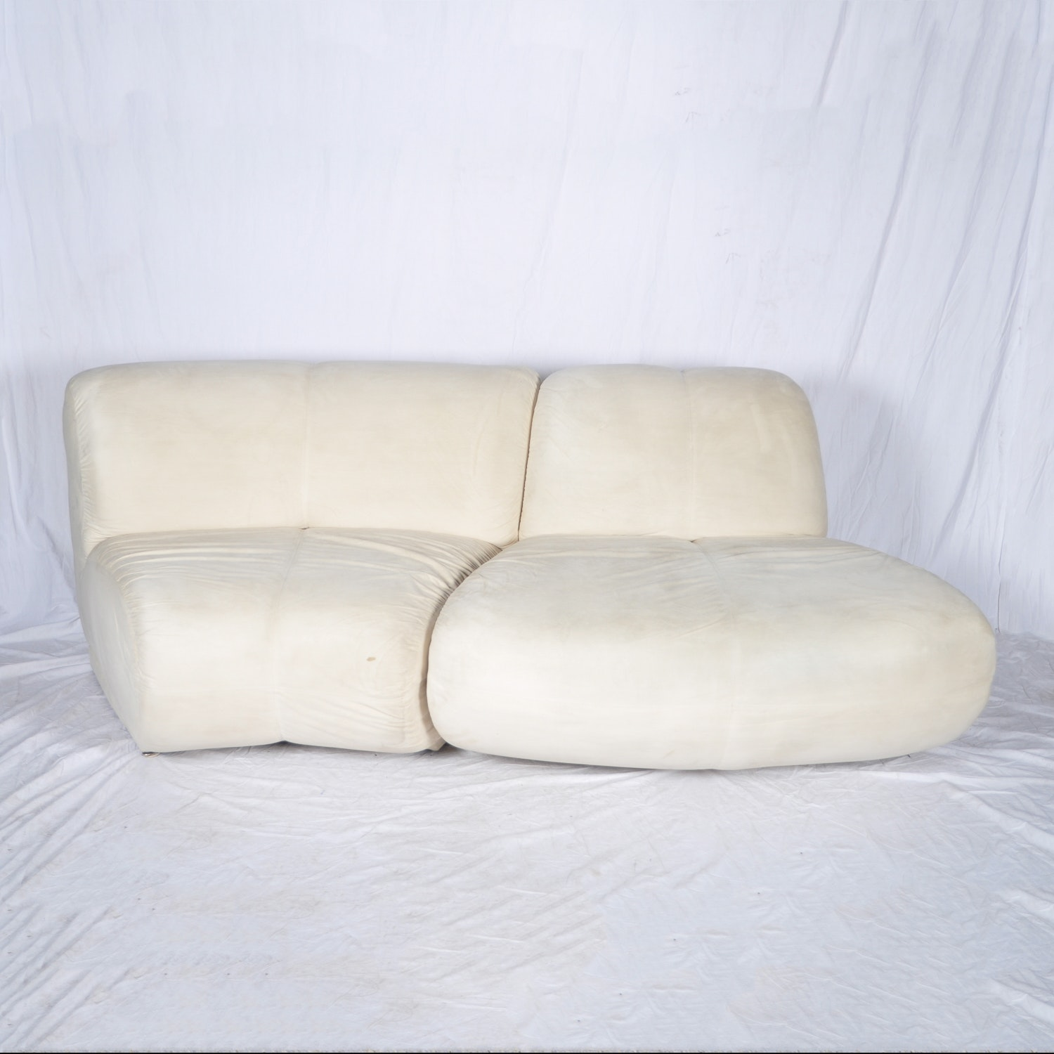 Pair of Faux Suede Sectional Sofas