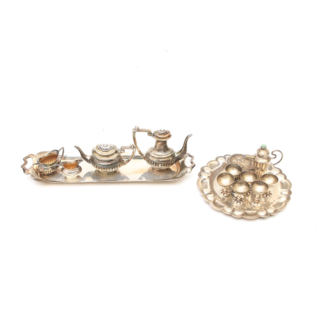 Collection of Vintage Miniature Sterling Silver Tea Sets