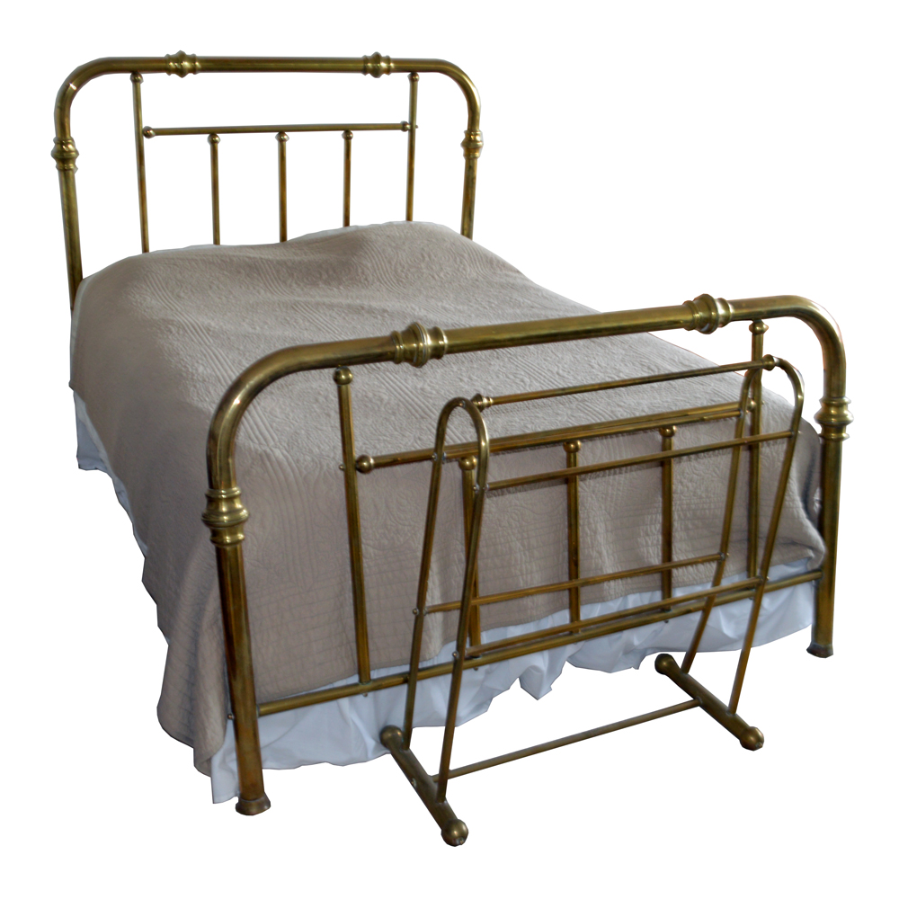 Vintage Queen Size Brass Bed Frame With Brass Quilt Rack : EBTH