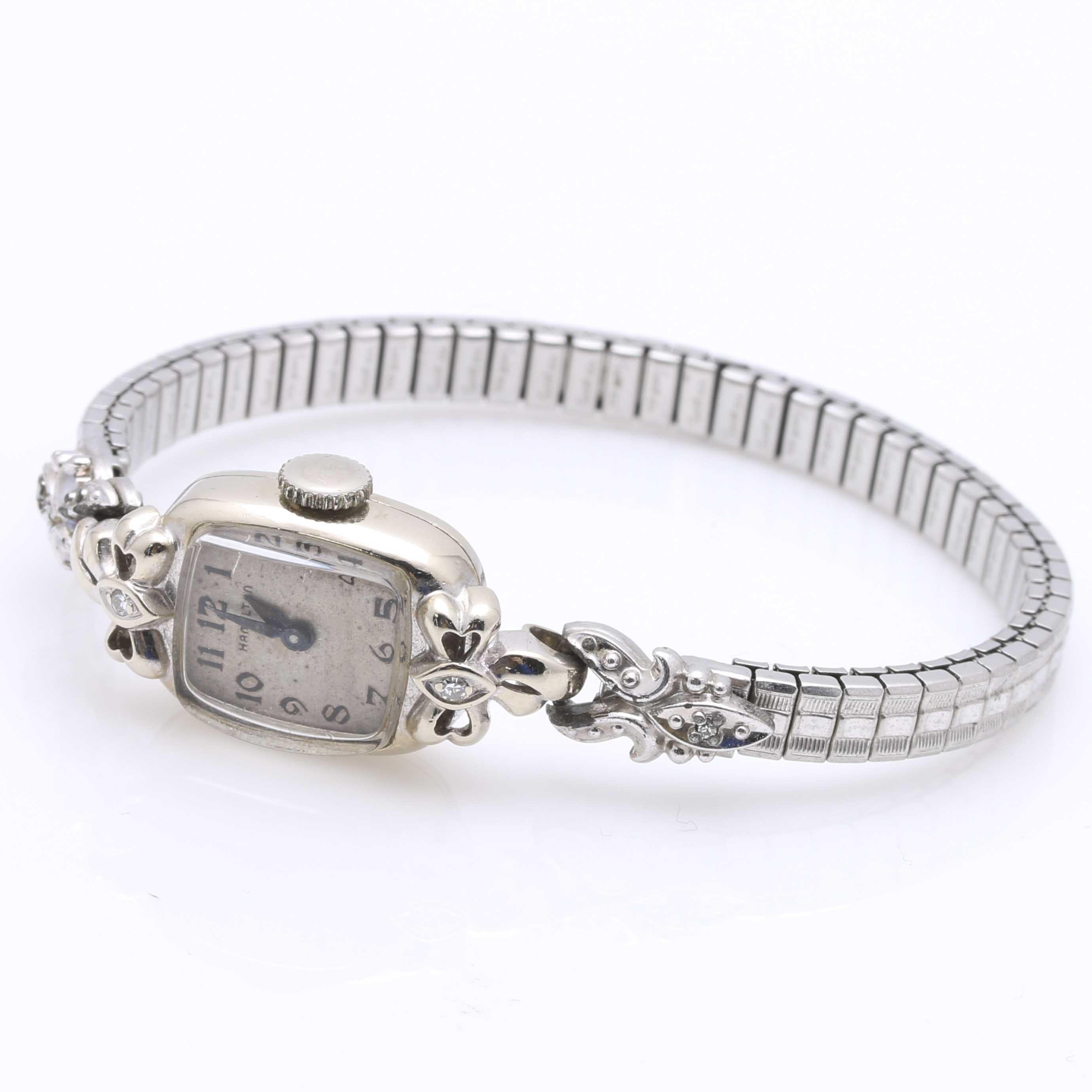 14K White Gold Hamilton Women's Diamond Wristwatch