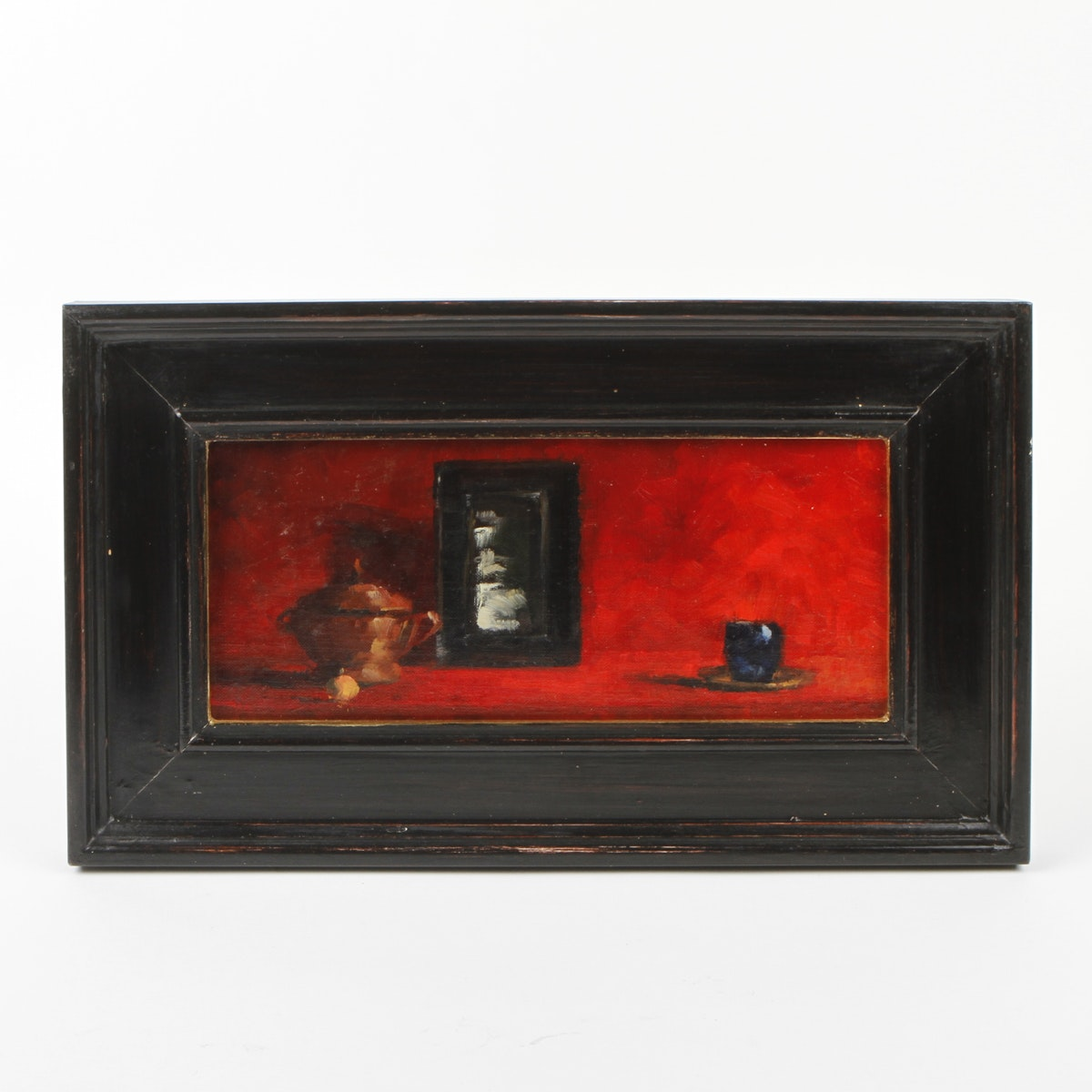 """Paula Rubino Still Life Oil Painting on Canvas titled """"Objects on Reds"""""""