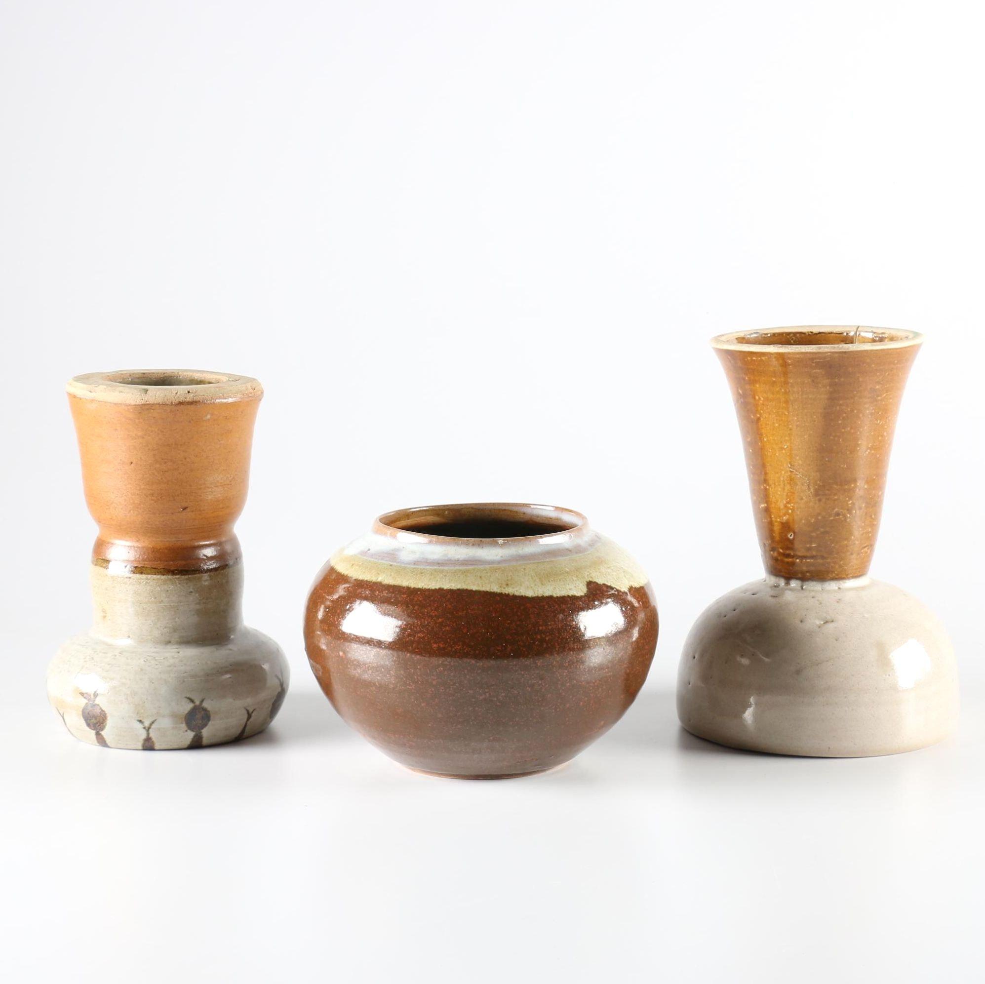 Set of Three Hand Thrown Stoneware Vessels