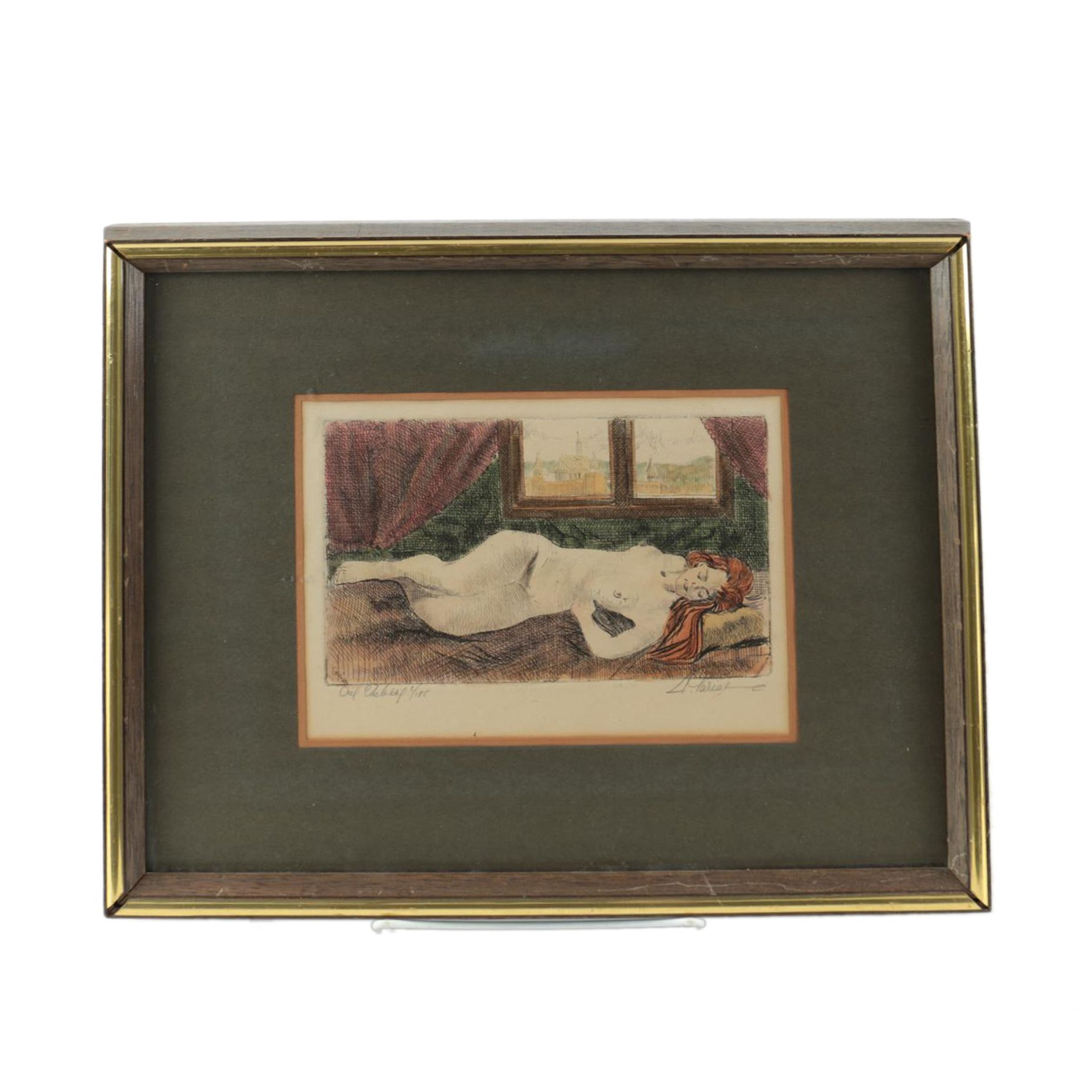 Limited Edition Hand Colored Intaglio Print of a Sleeping Nude