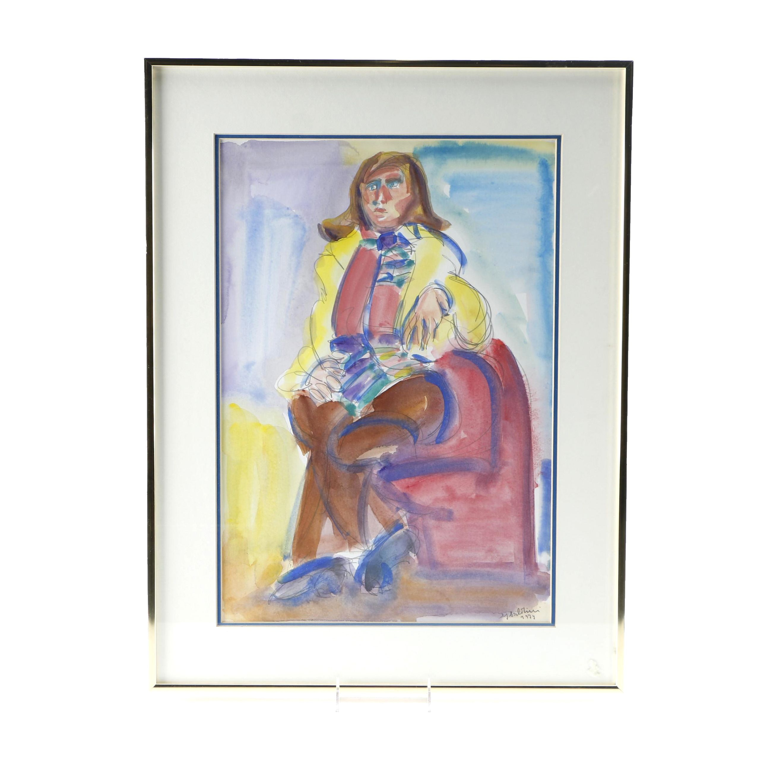 1979 Watercolor Portrait of a Woman In Yellow Jacket