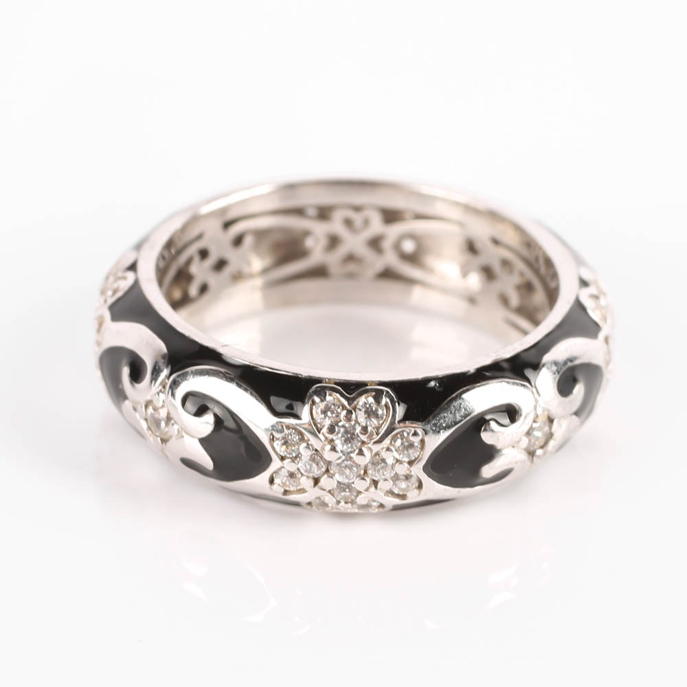 Sterling Silver Black Enamel and Cubic Zirconia Band