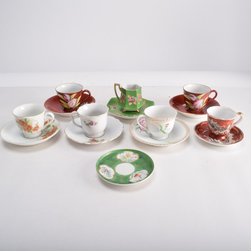 Demitasse Cups and Saucers Including Made in Occupied Japan