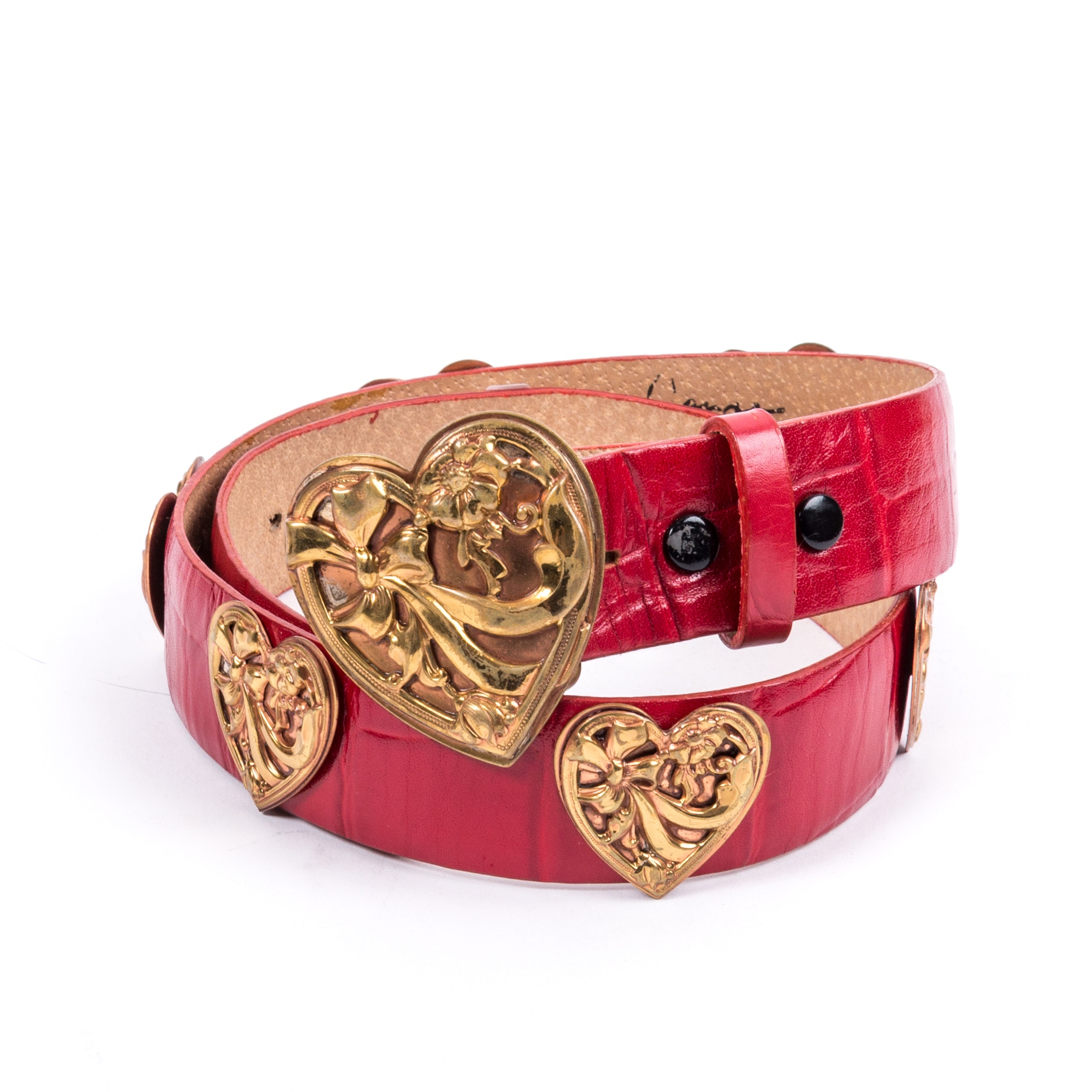 Vintage Elaine Coyne Red Leather Belt