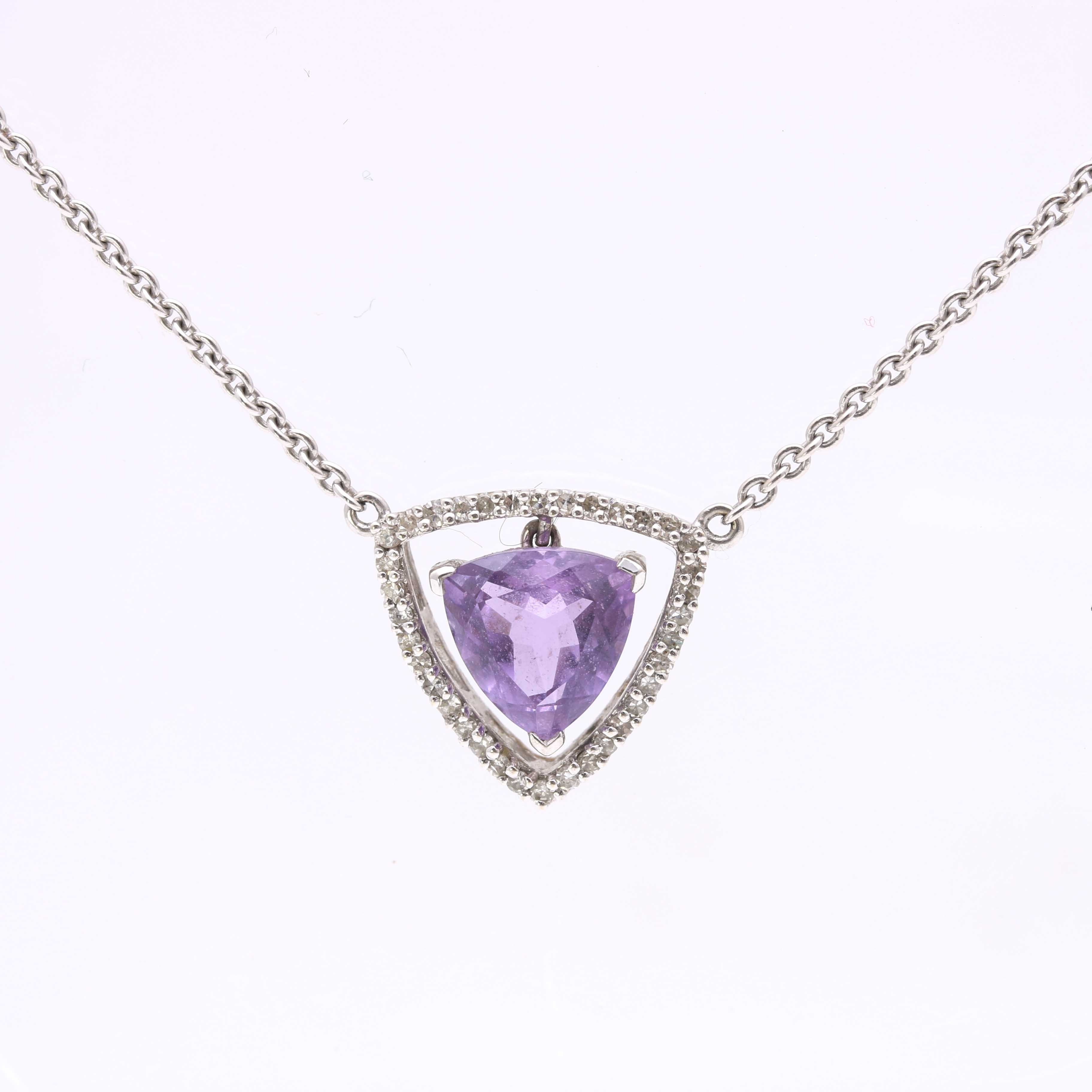 14K White Gold Amethyst and Diamond Necklace