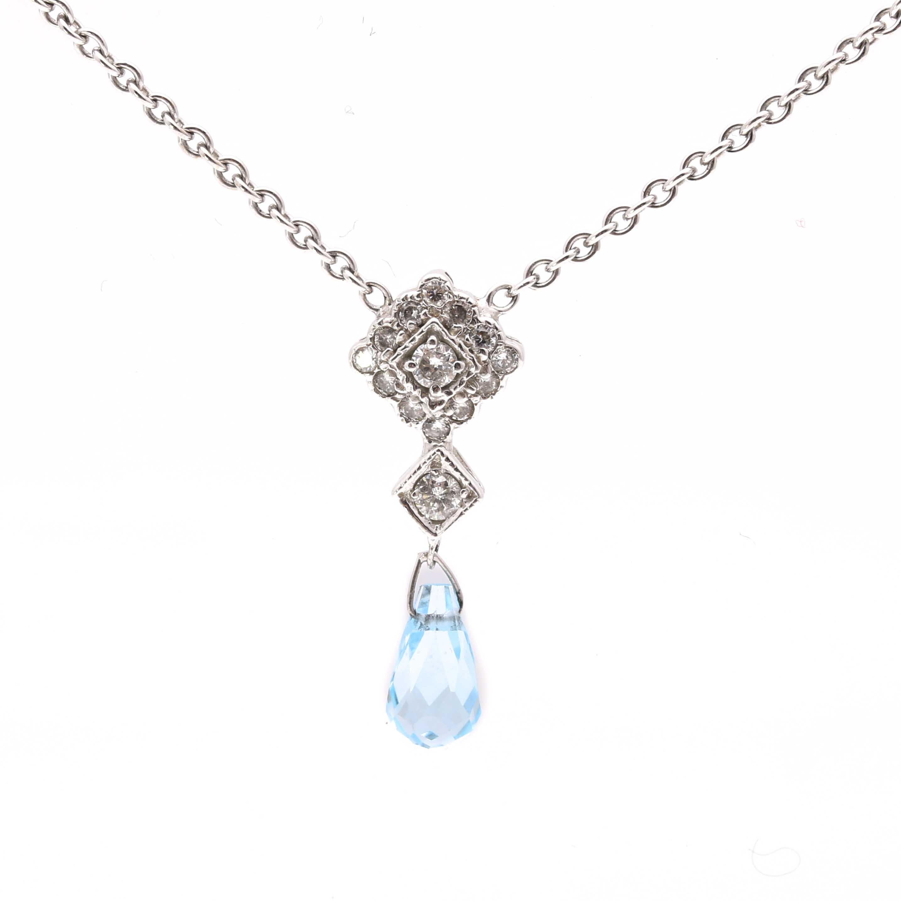 14K White Gold Diamond and Blue Topaz Necklace