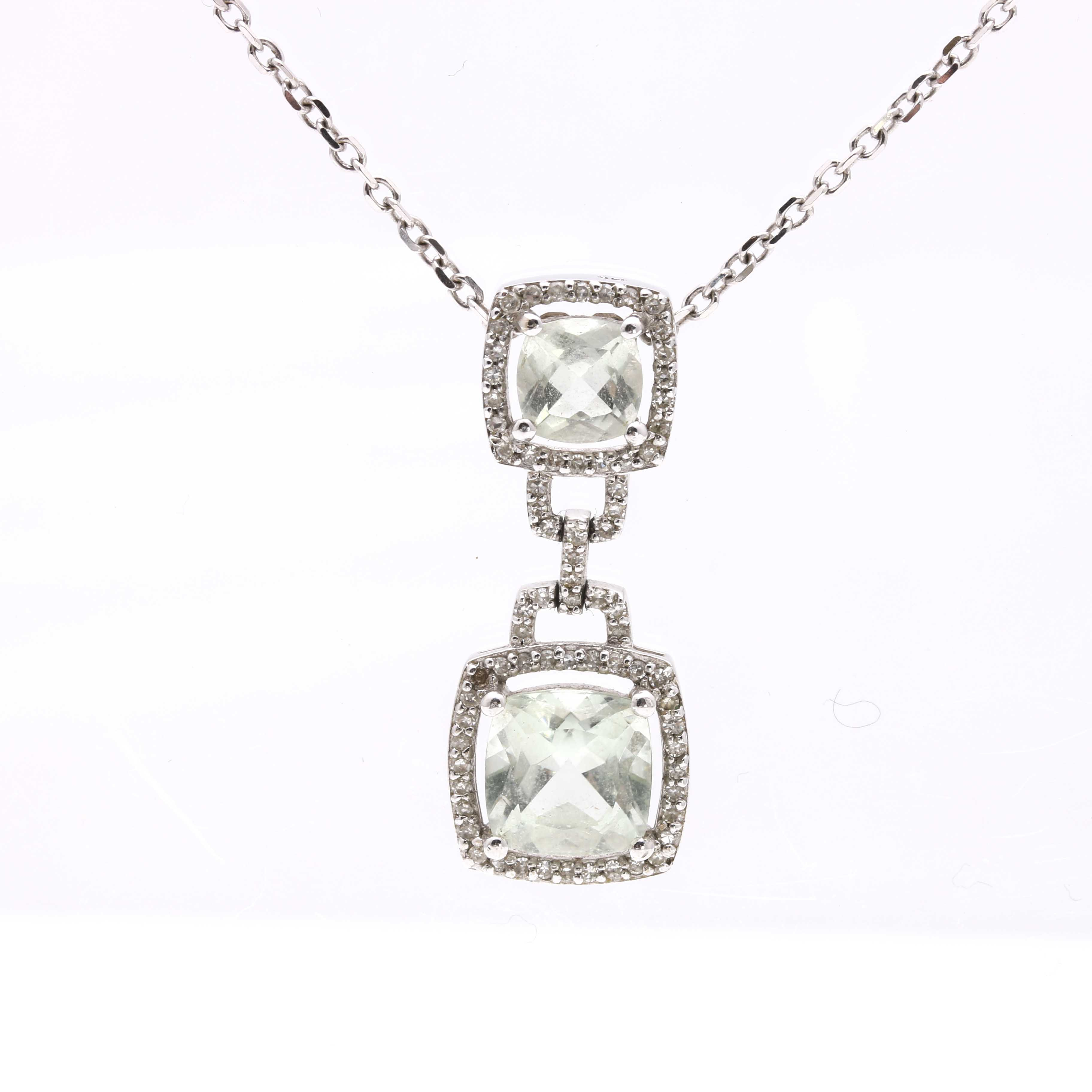 14K White Gold Praseolite and Diamond Necklace