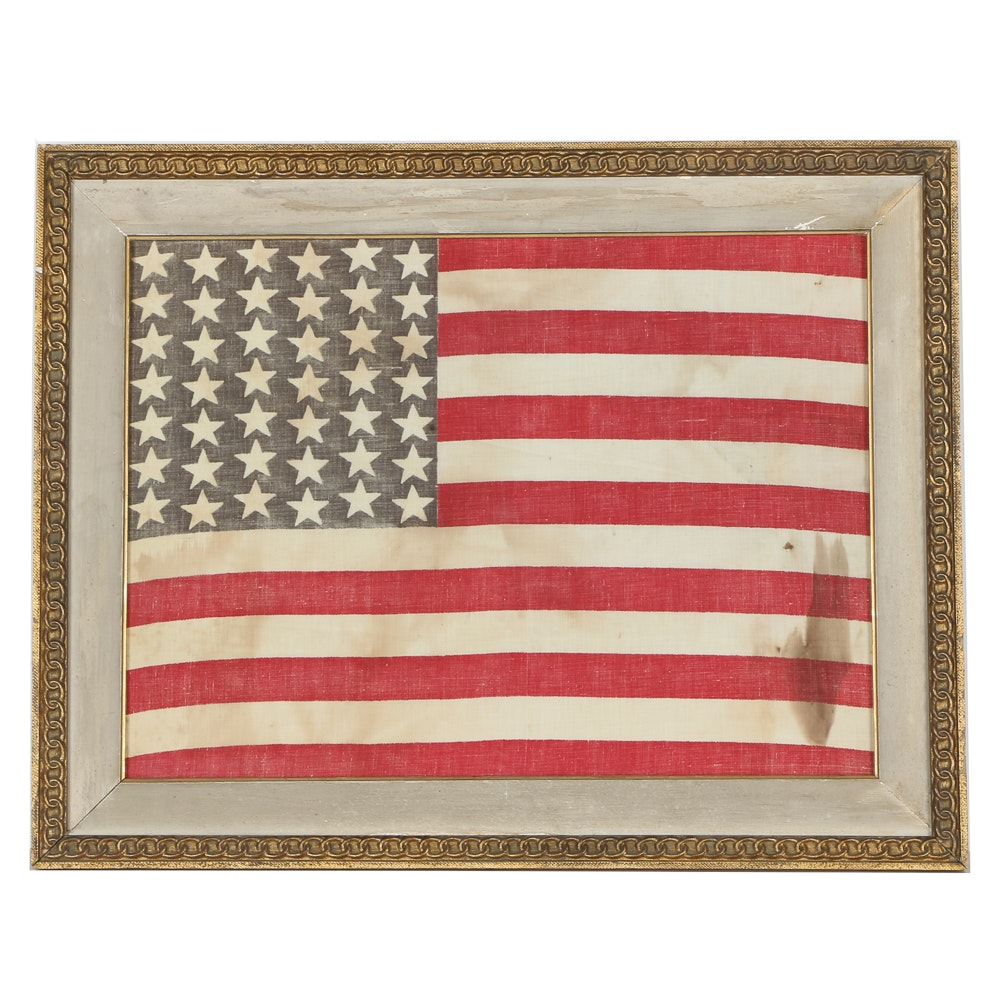 Circa 1890 Forty Two Star Framed American Flag