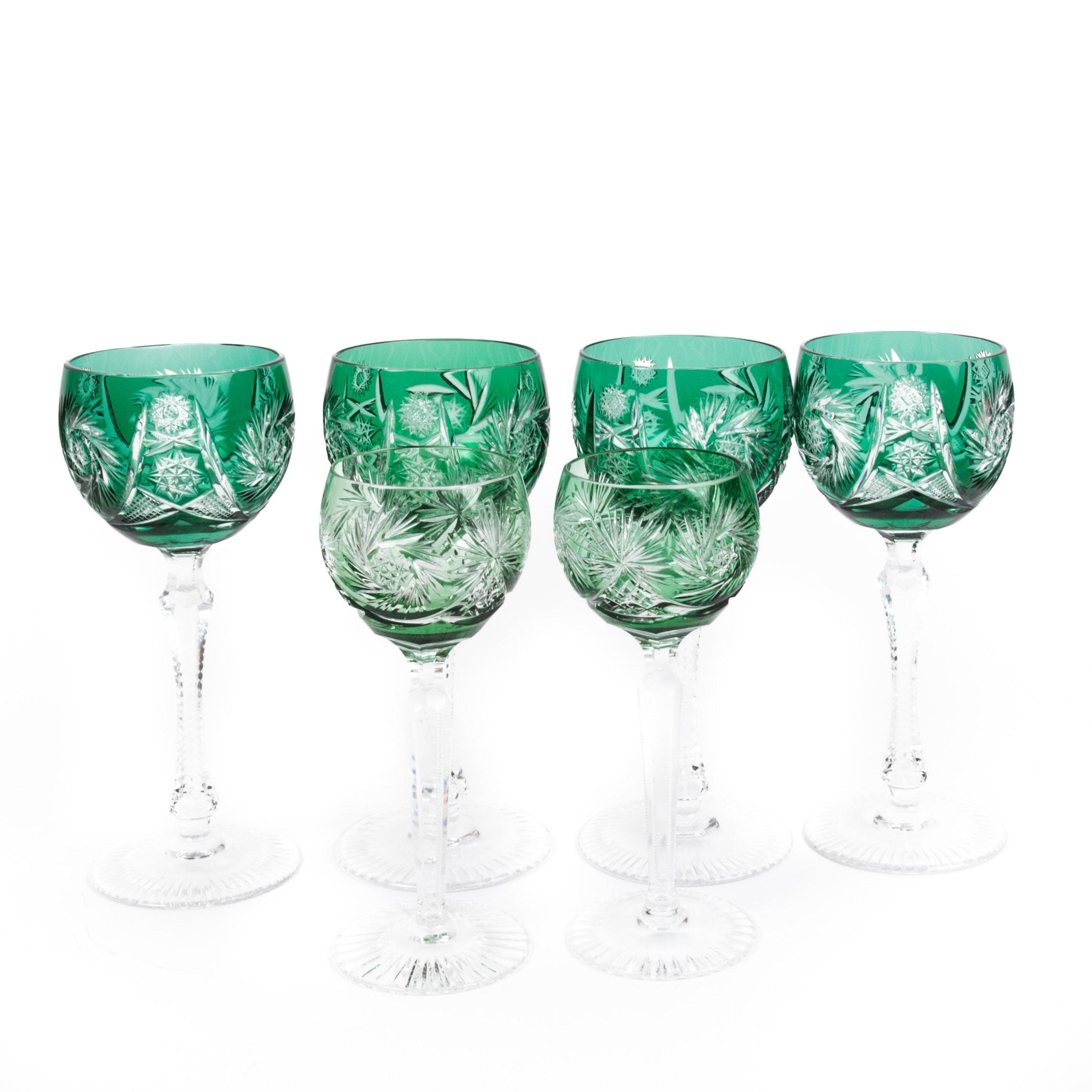 Vintage Bohemian Emerald Green Crystal Stemware