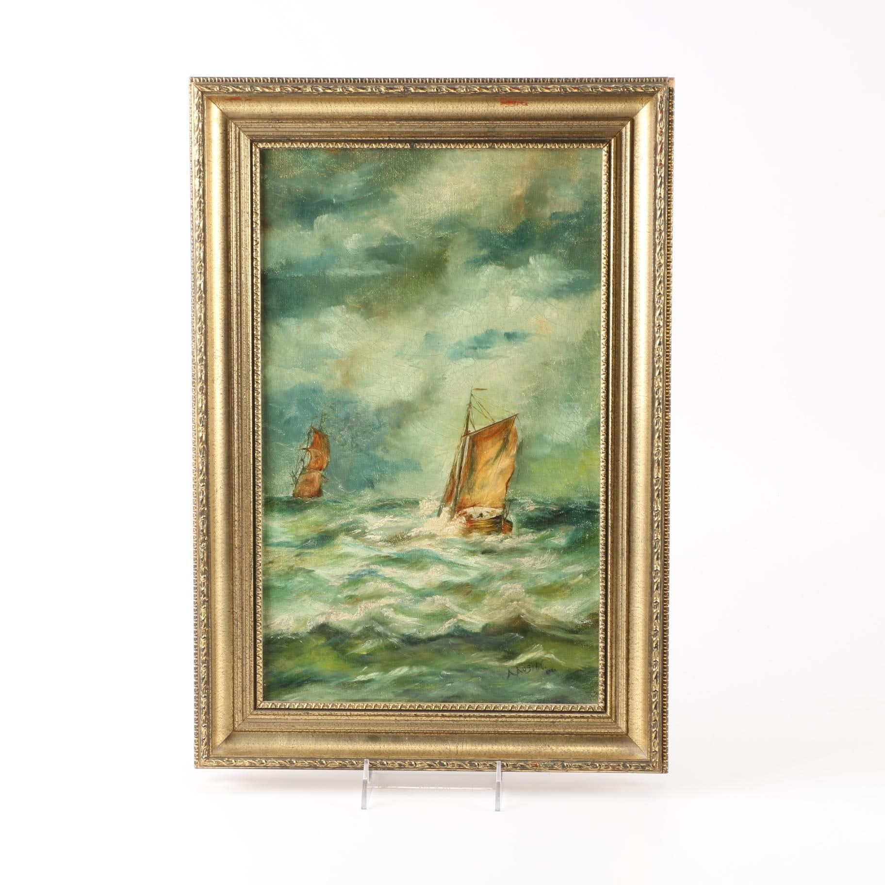 A. Austin Original Oil Painting of Ships at Sea