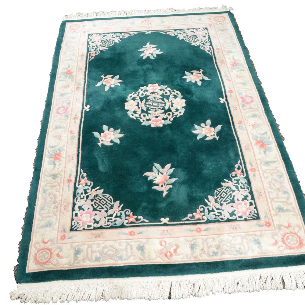 Hand Knotted Semi-Antique Sculpted Chinese Area Rug