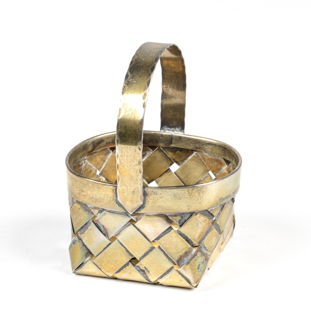 Cartier Handcrafted Sterling Silver Woven Basket