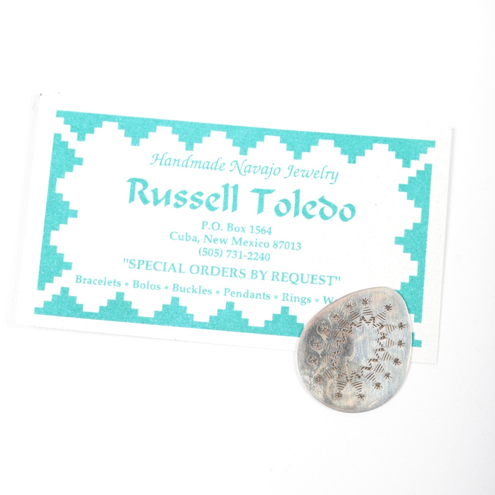 Signed Russel Toledo Navajo Sterling Silver Piece
