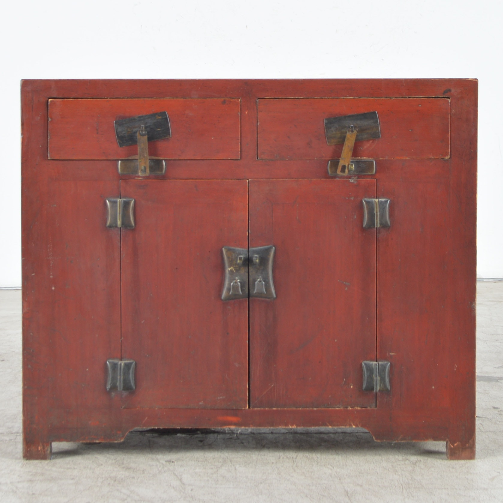Chinese Inspired Red Painted Cabinet