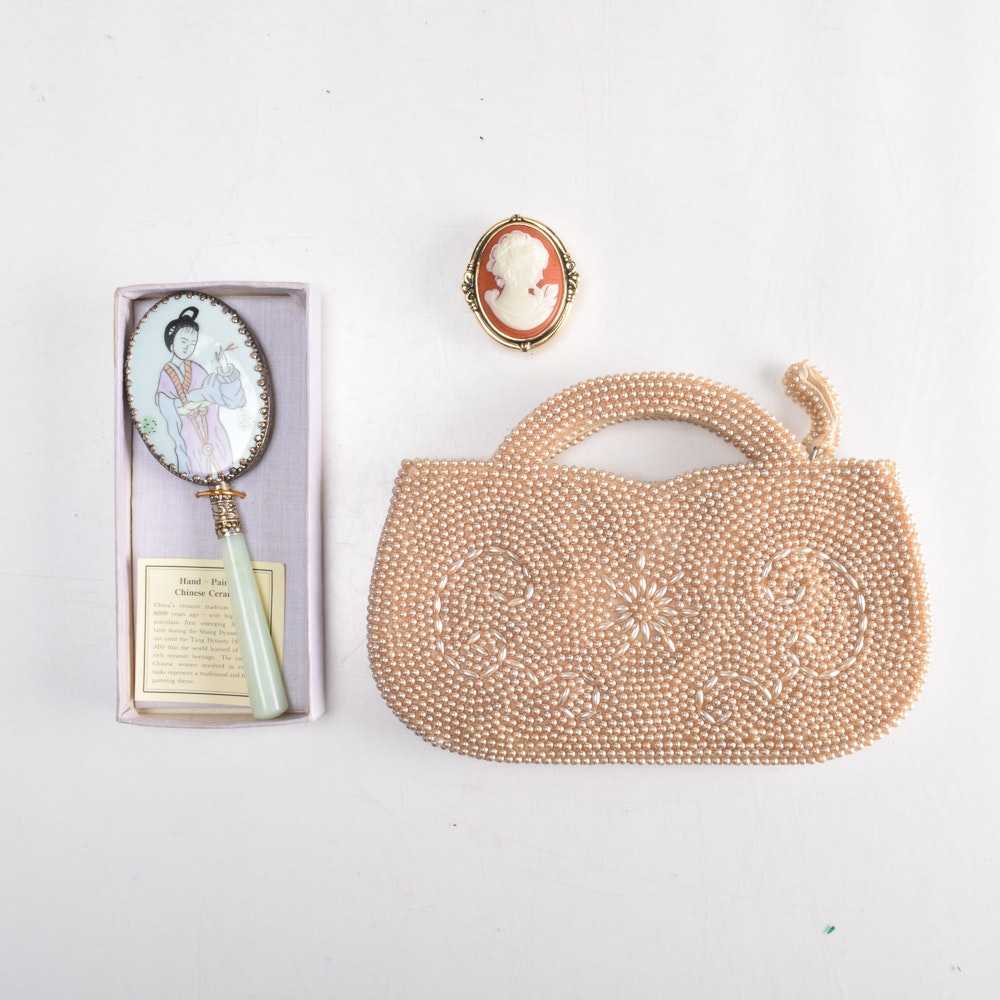 VIntage Beaded Purse, Mirror and Pill Box