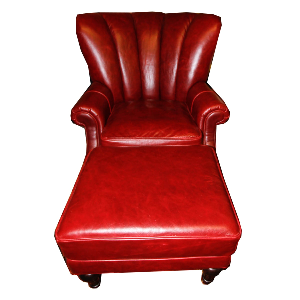 Red Leather Arm Chair and Ottoman