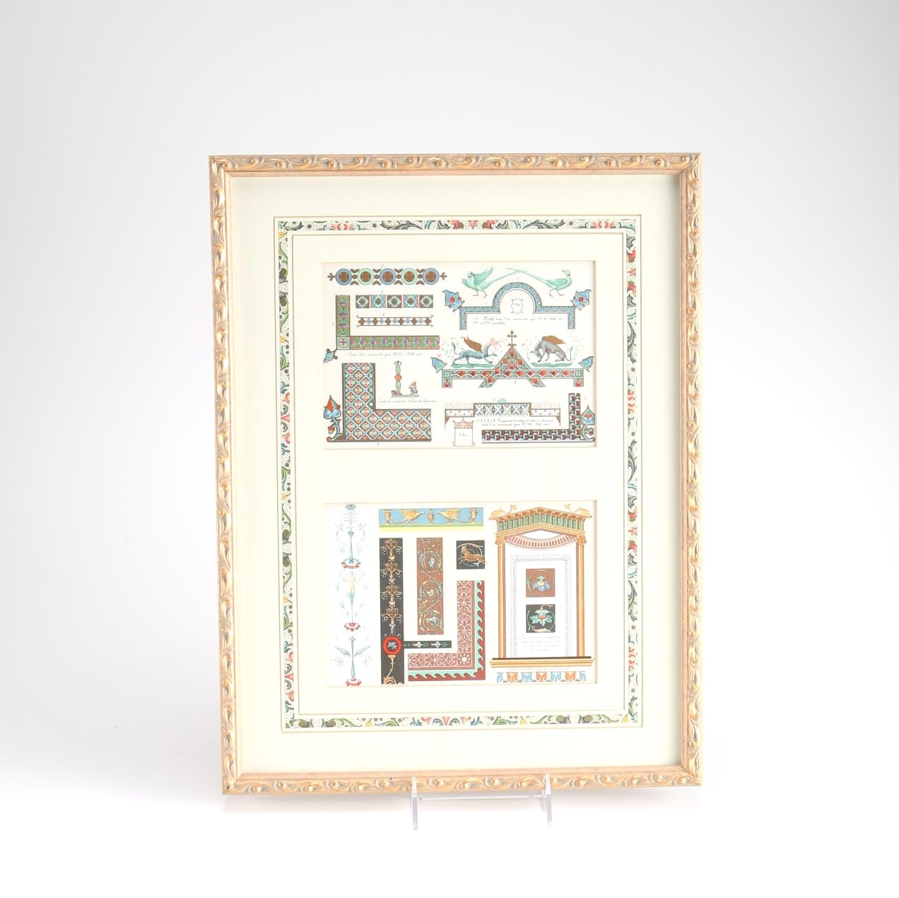 Framed Lithograph of Border and Margin Motifs