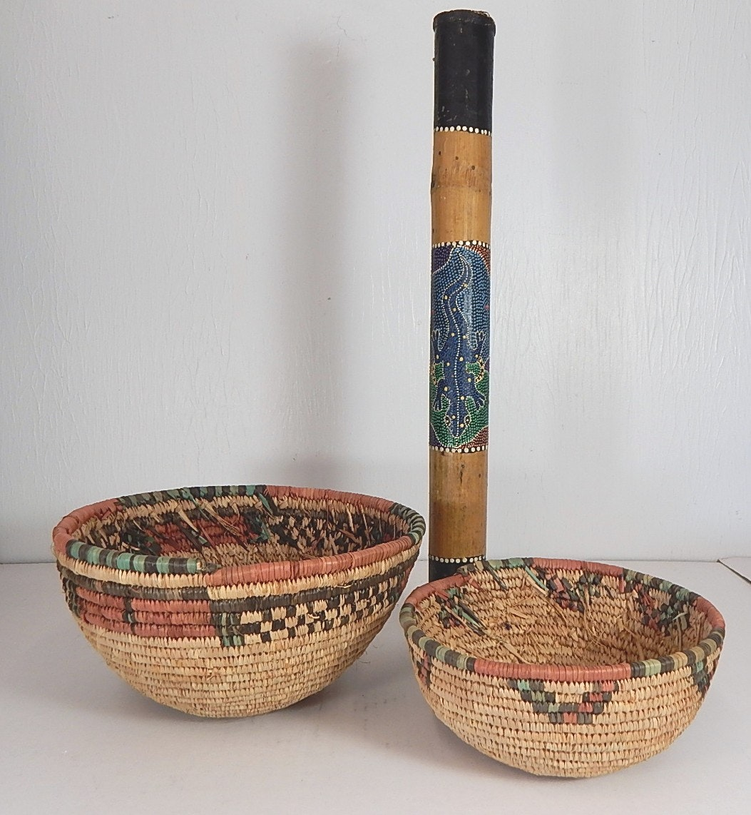 Two African Woven Basket Bowls and Rain Stick